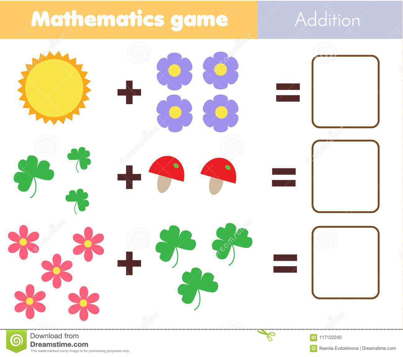 Mathematics Worksheet Educational Game For Children Learning Counting Addition For Kids And