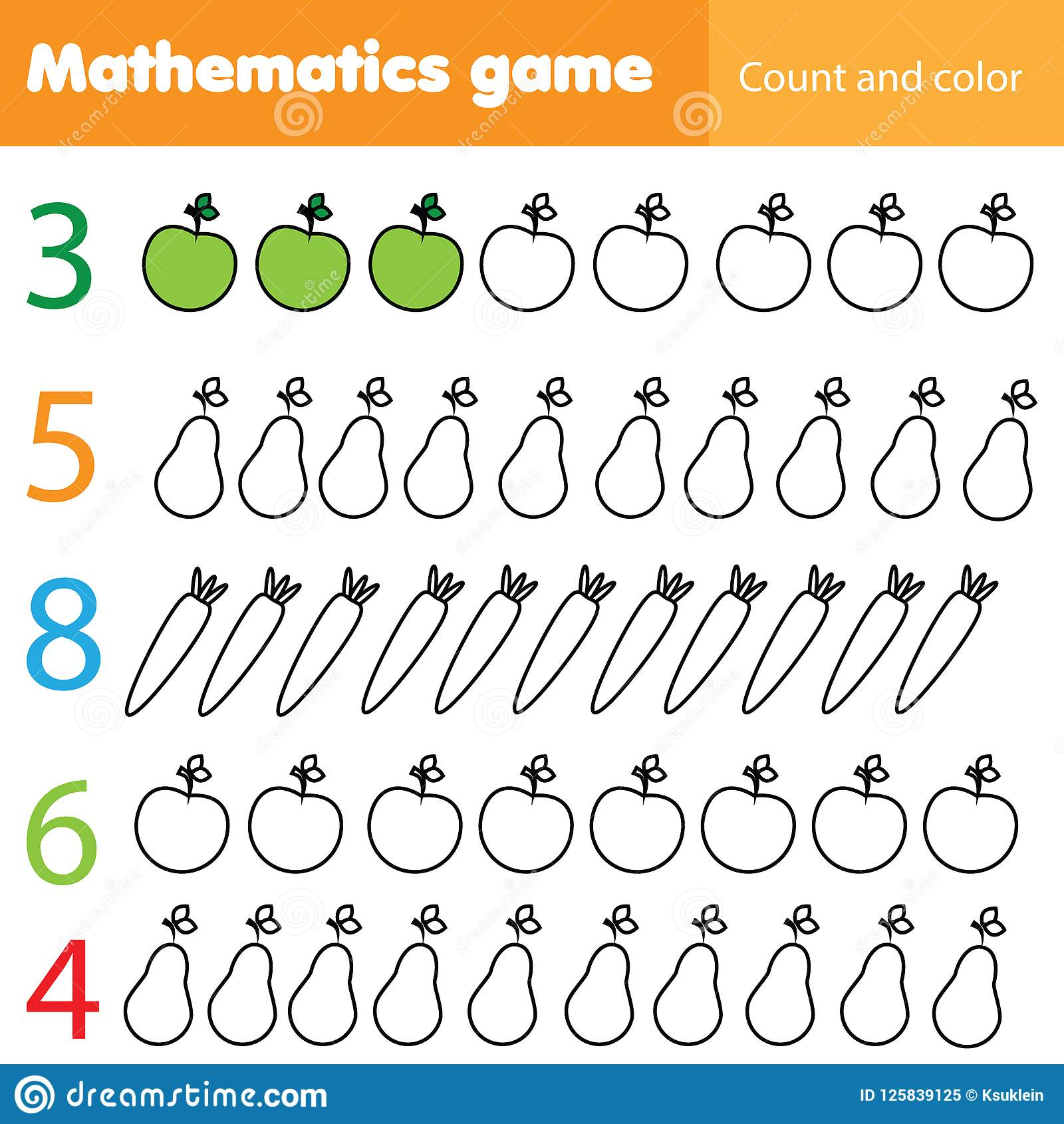 Mathematics Worksheet For Kids Count And Color Educational Children Activity With Fruits And
