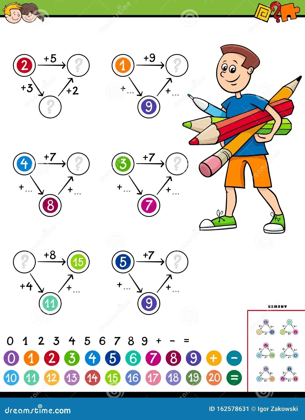 Maths Calculation Educational Worksheet For Children Stock
