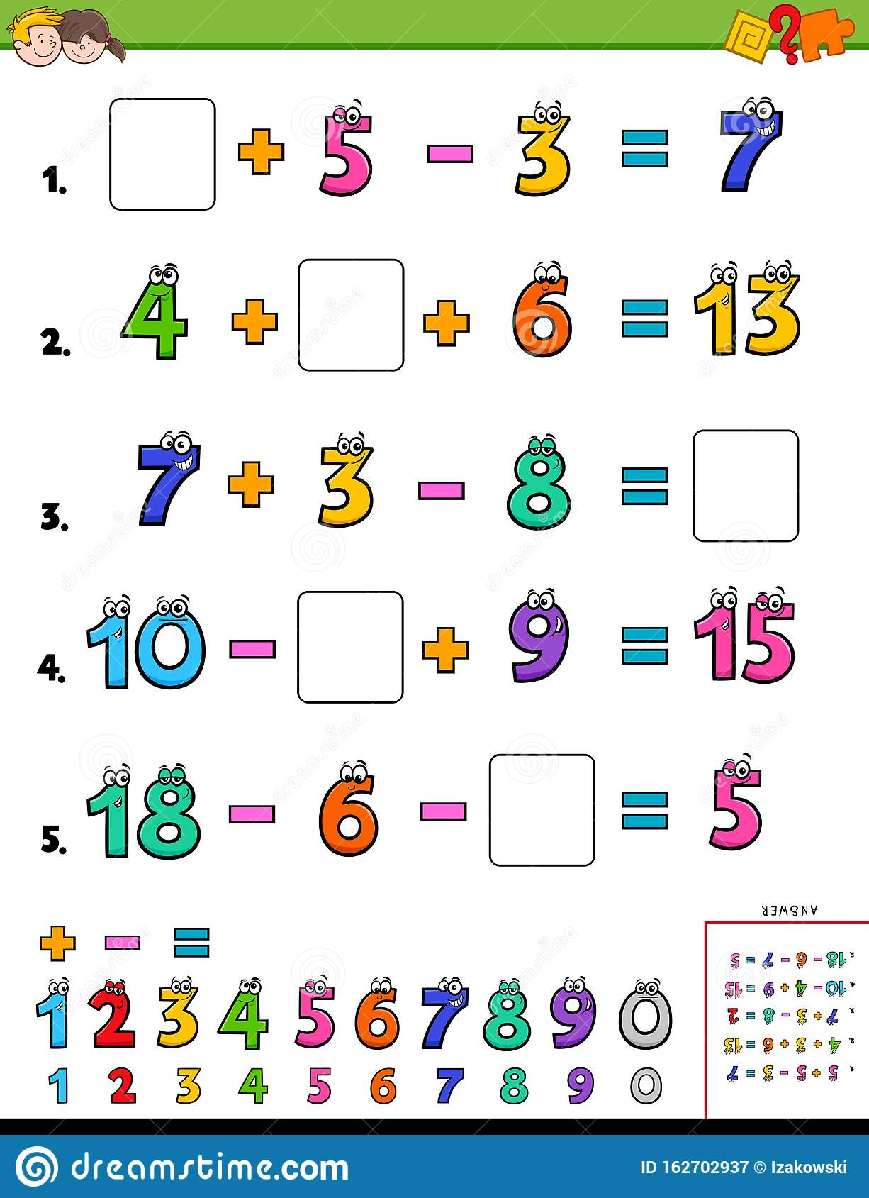 Maths Calculation Educational Worksheet For School Kids
