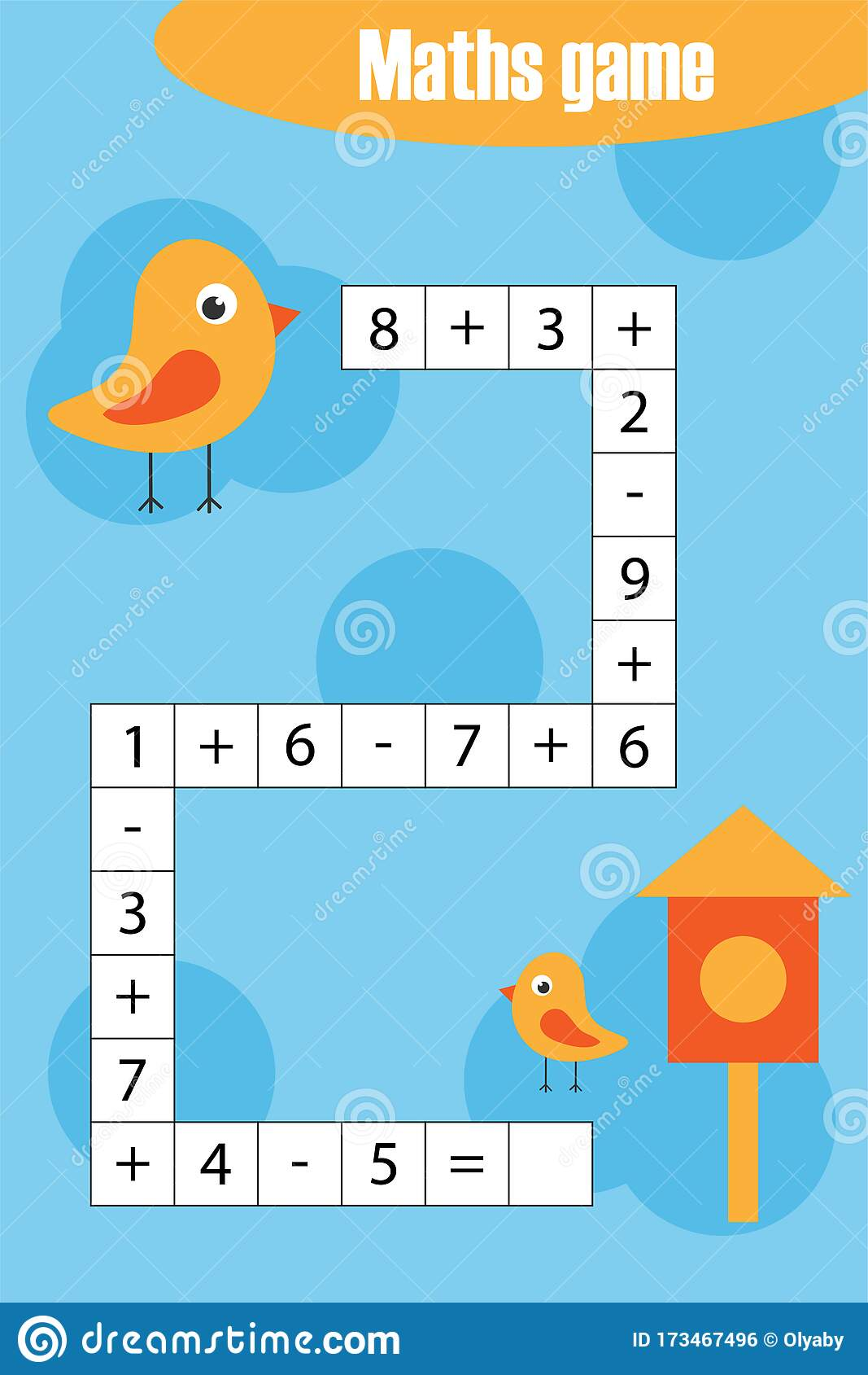 Maths Chain Game With Birds For Children Education Game