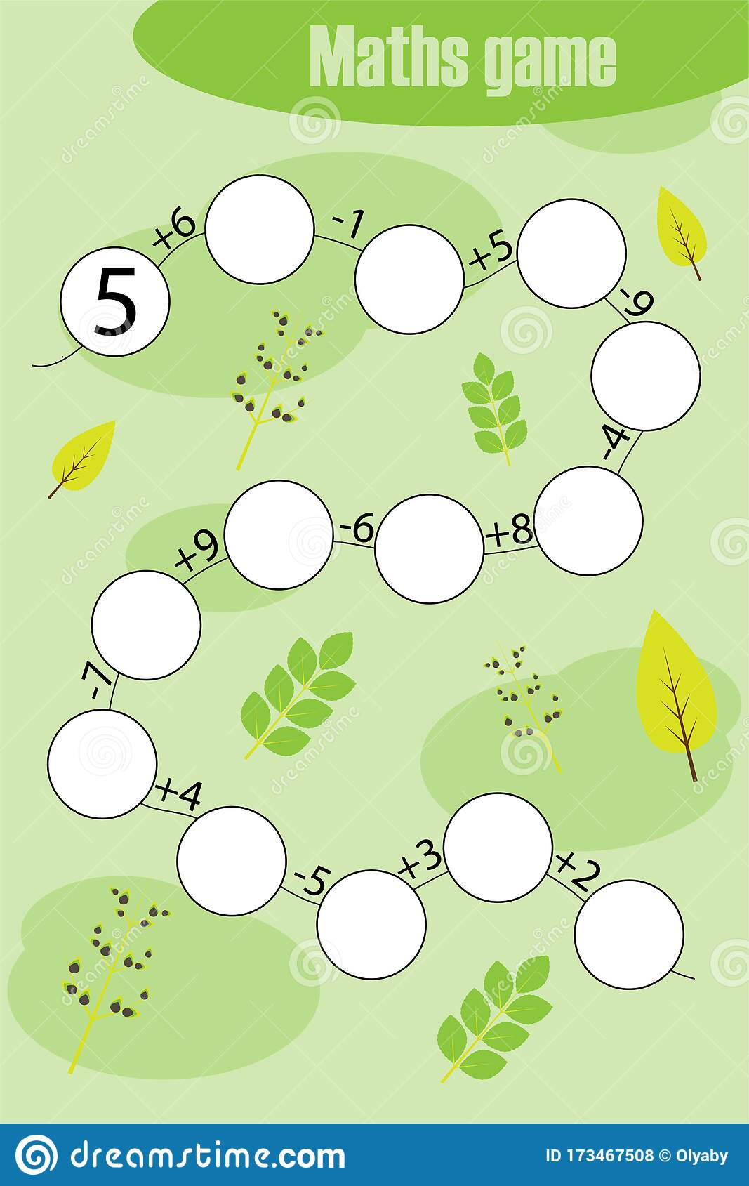 Maths Chain Game With Spring Pictures For Children