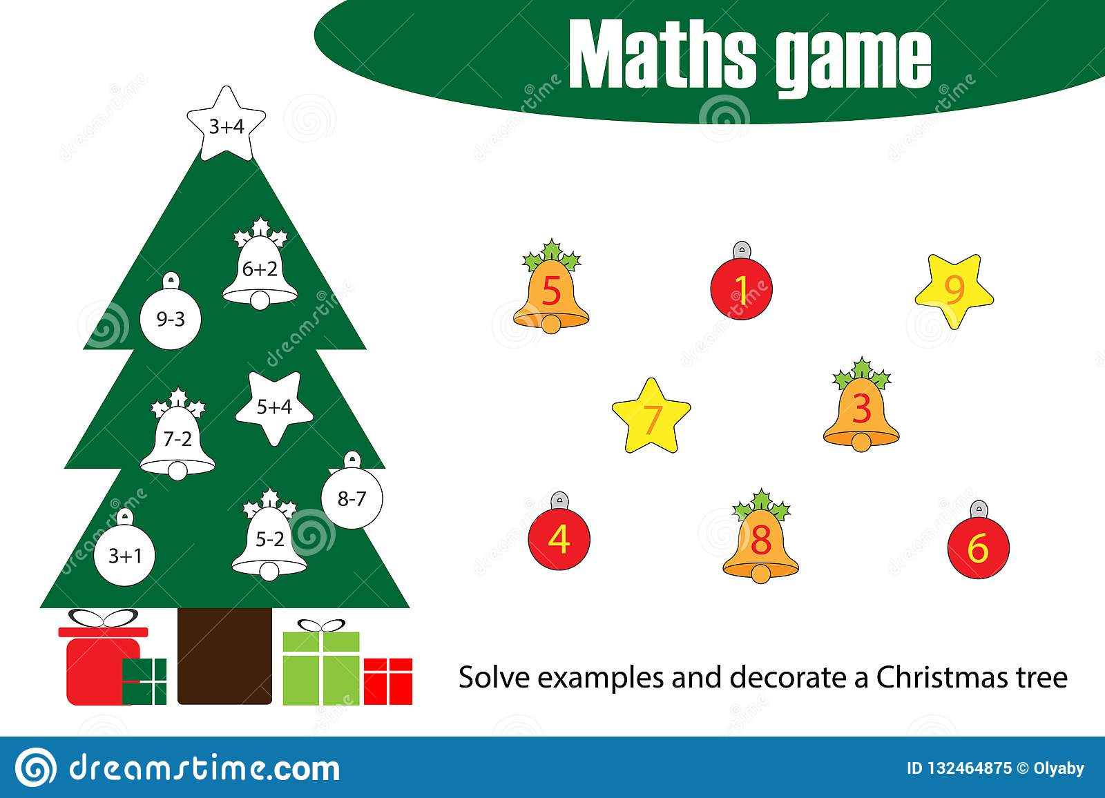 Maths Game With Decoration Christmas Tree For Children