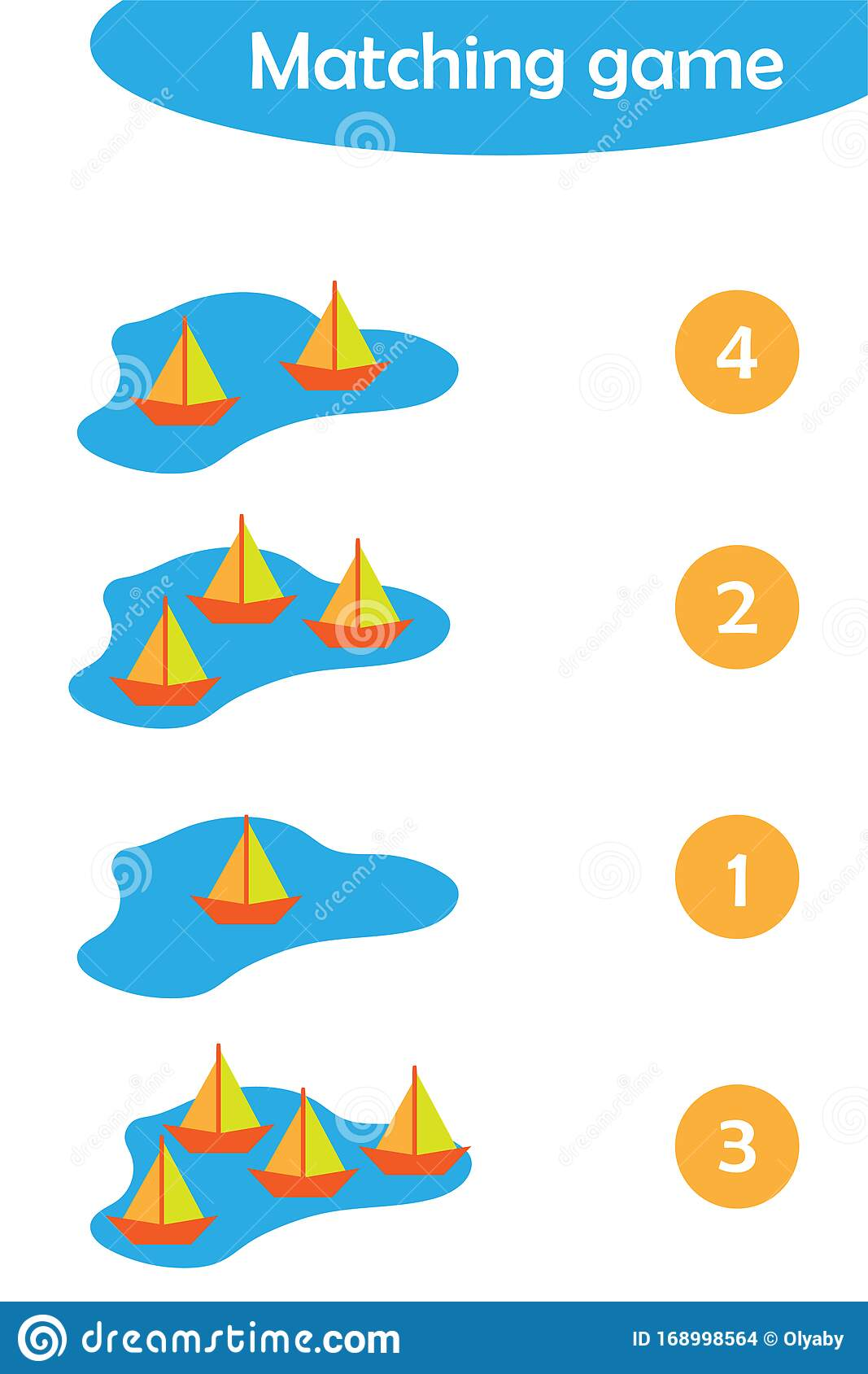 Maths Game With Paper Boats In A Puddle For Children Easy