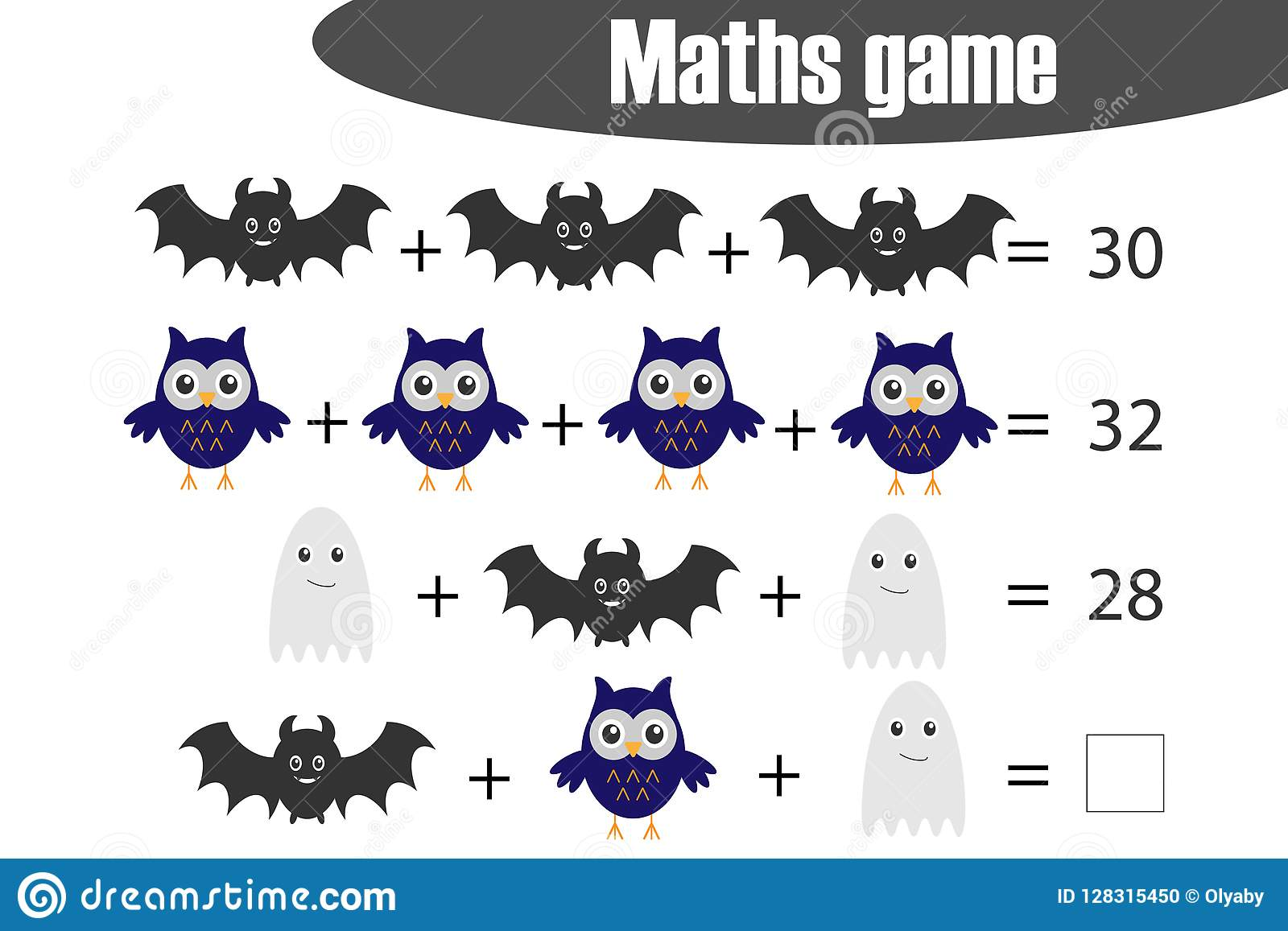 Maths Game With Pictures Halloween Theme For Children