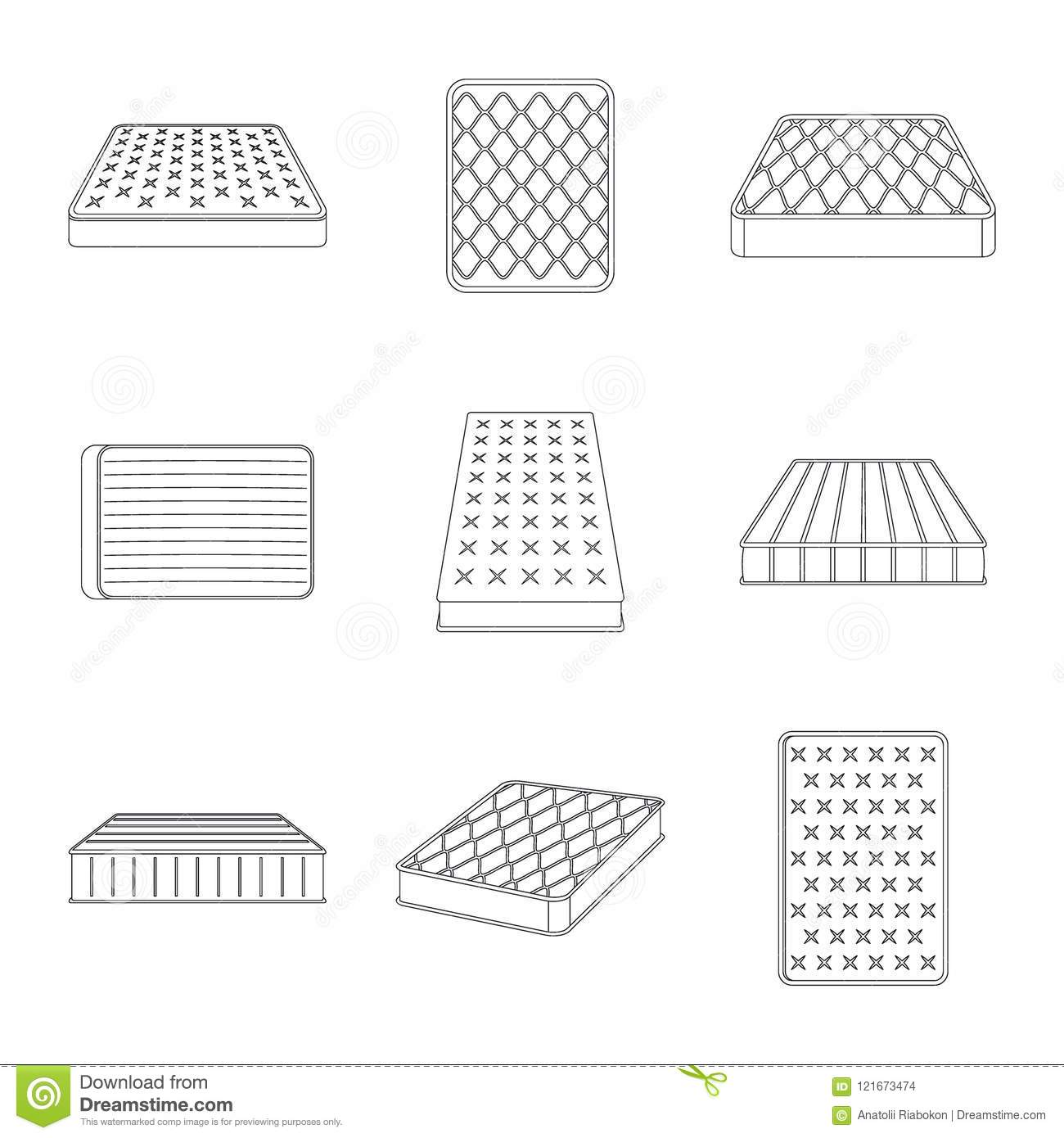Mattress Squab Bedding Icons Set Outline Style Stock Vector