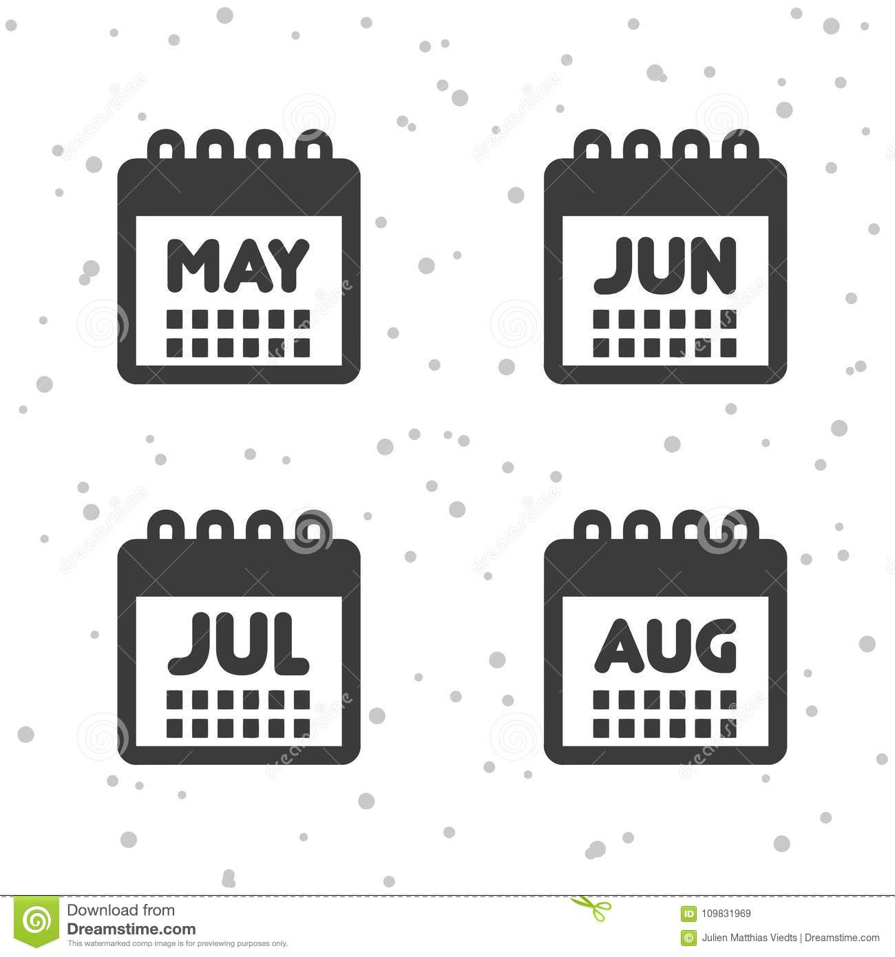 May June July And August Icons Calendar Symbols Stock