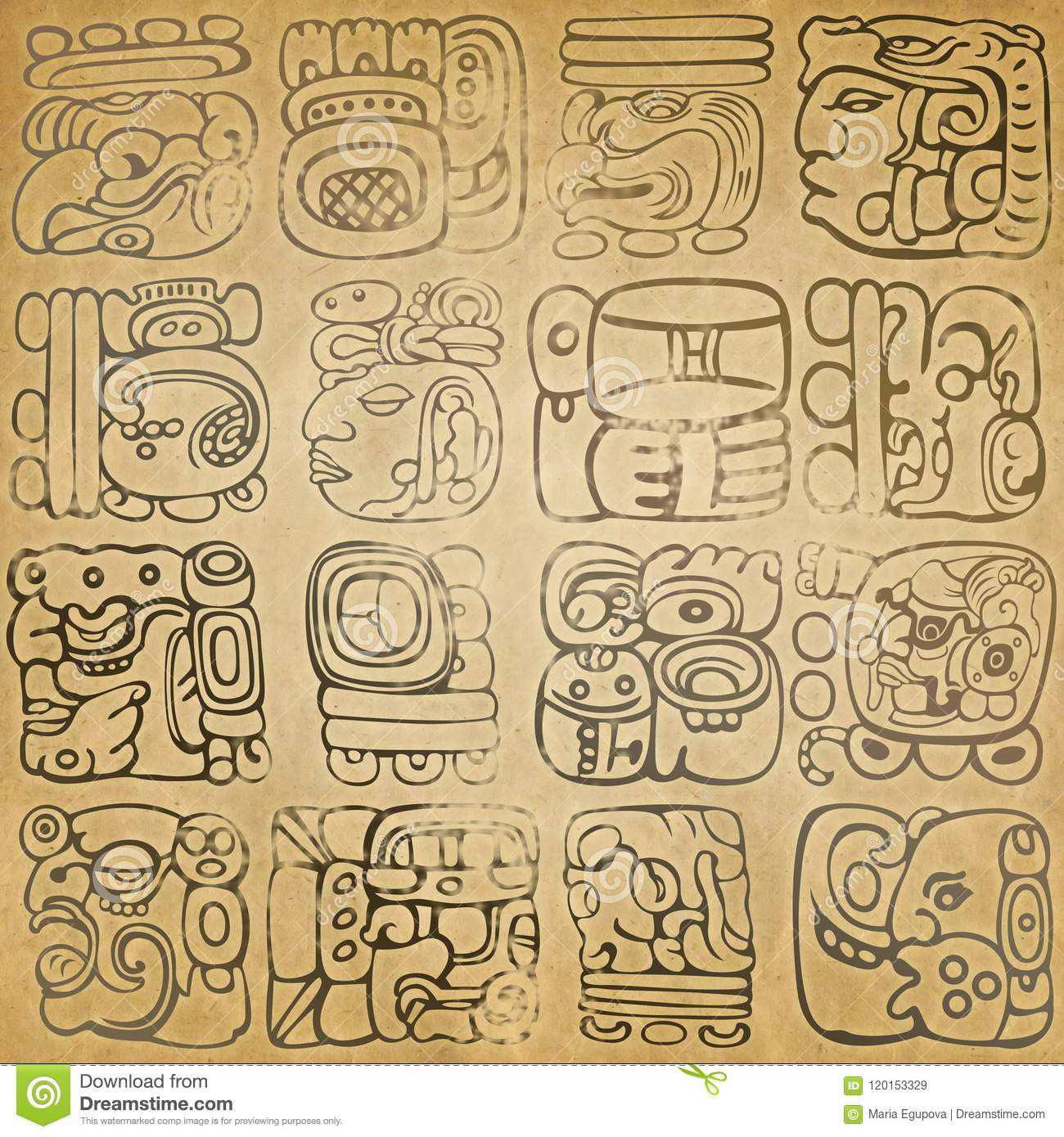 Mayan And Aztec Glyphs Stock Illustration Illustration Of