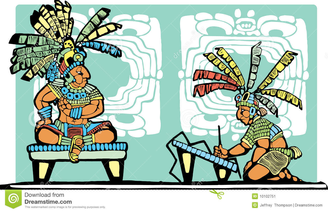Mayan King And Scribe Stock Vector Illustration Of Brush