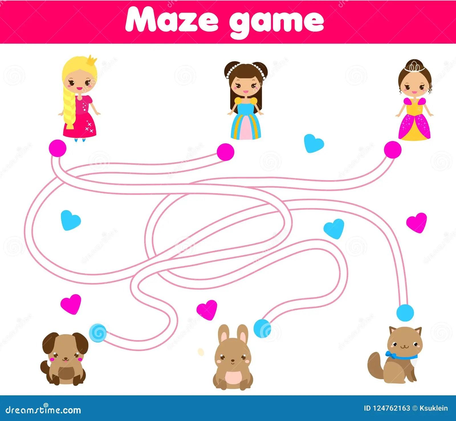Maze Game Help Princess Find Pet Activity For Children