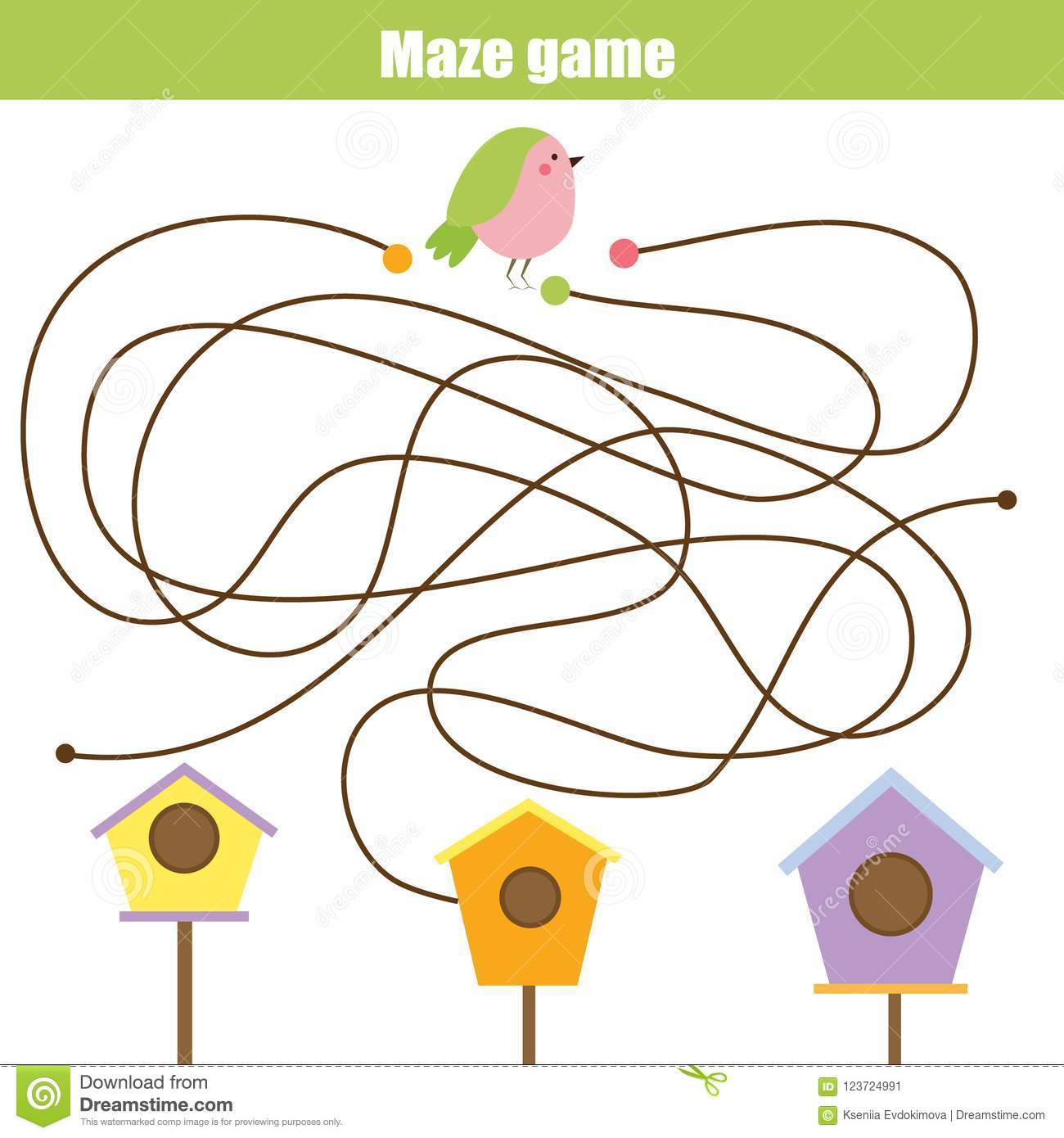 Maze Game Animals Theme Help Bird Find Birdhouse