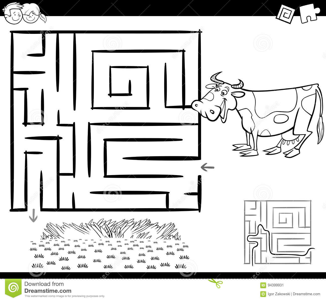 Maze With Cow For Coloring Stock Vector Illustration Of Education