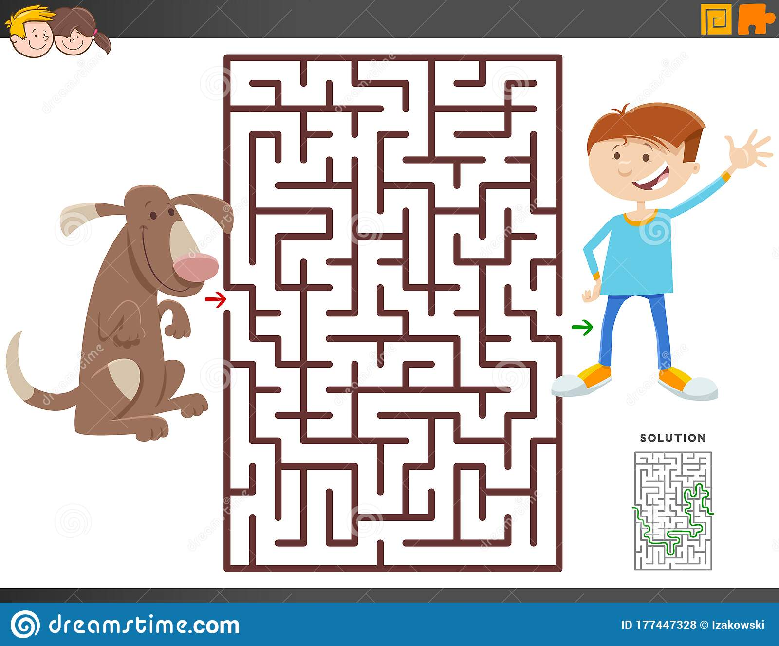 Maze Game With Cartoon Boy And Dog Stock Vector