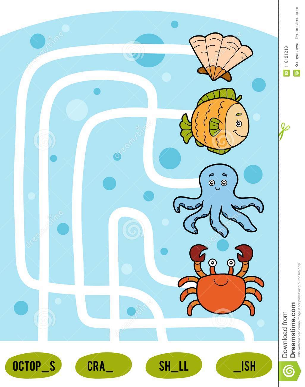 On The Sea Maze Game Cartoon Vector
