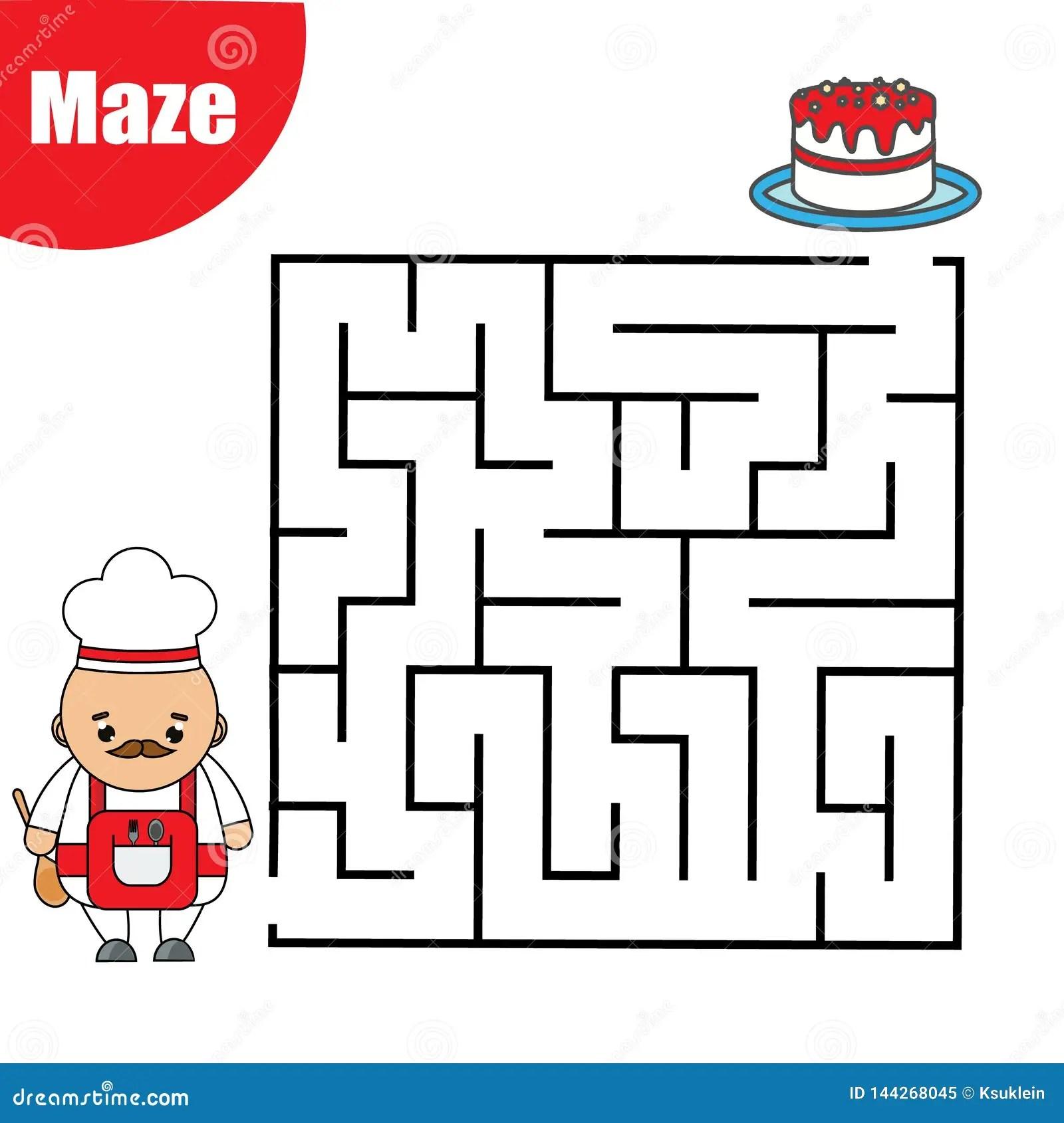 Maze Game For Children Help Cook Go Through Labyrinth