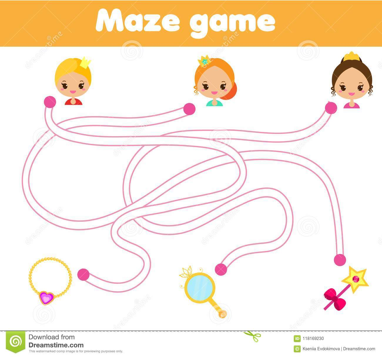 Maze Game For Children Help Princess Find Way To Objects
