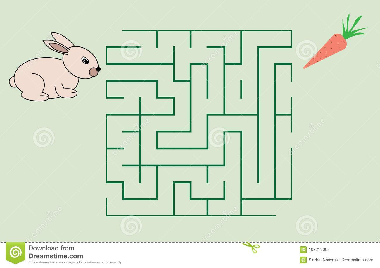 Maze Game For Children Help The Rabbit To Get The Carrot