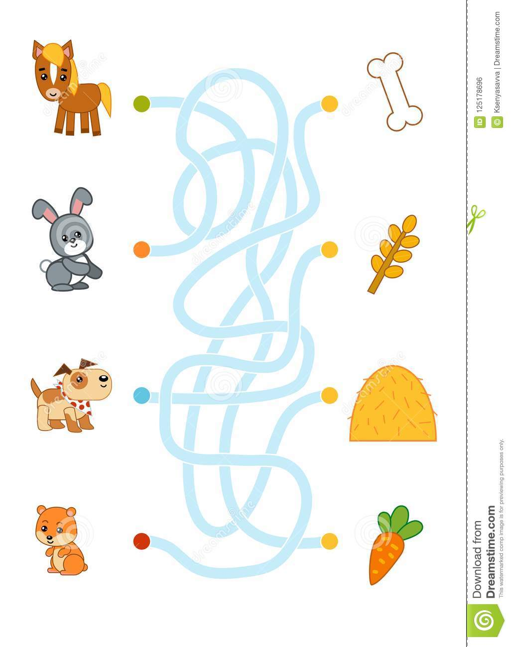 Maze Game For Children Horse Rabbit Dog Hamster And