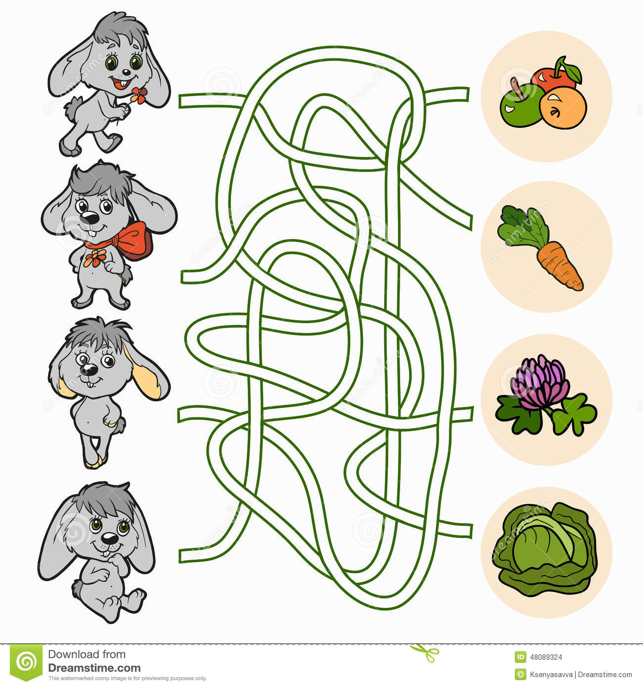 Maze Game For Children Rabbits Stock Vector