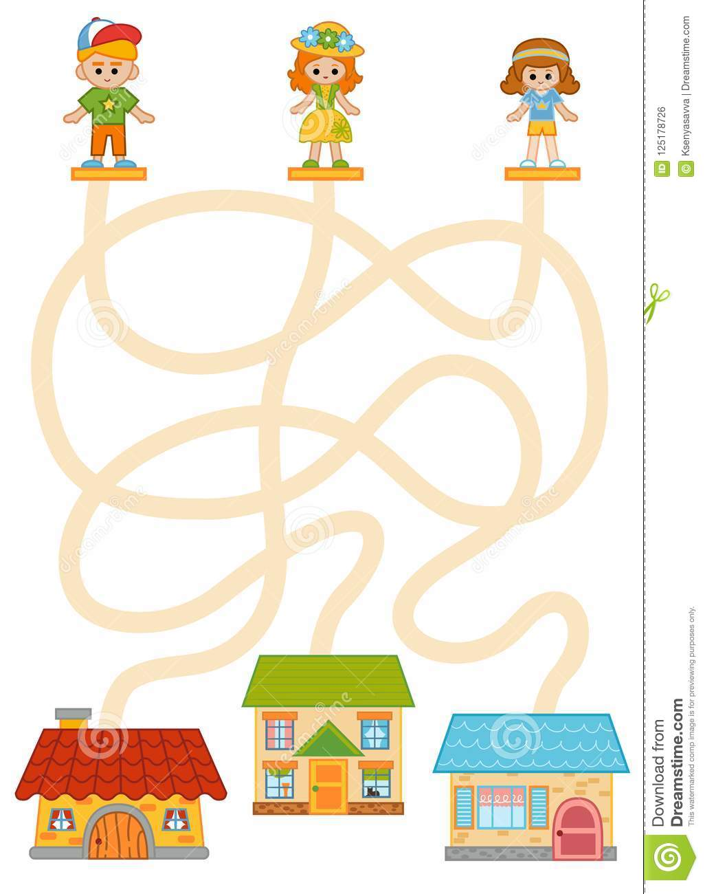 Maze Game Children And Their Homes Stock Vector