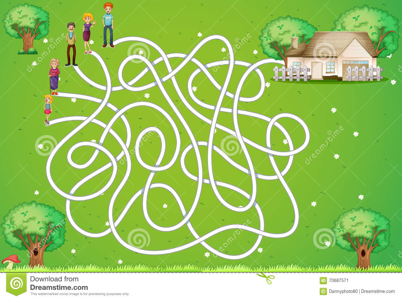 Maze Game With Family And House Stock Vector
