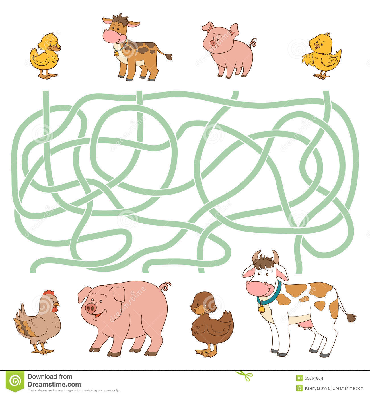 Maze Game Farm Animals
