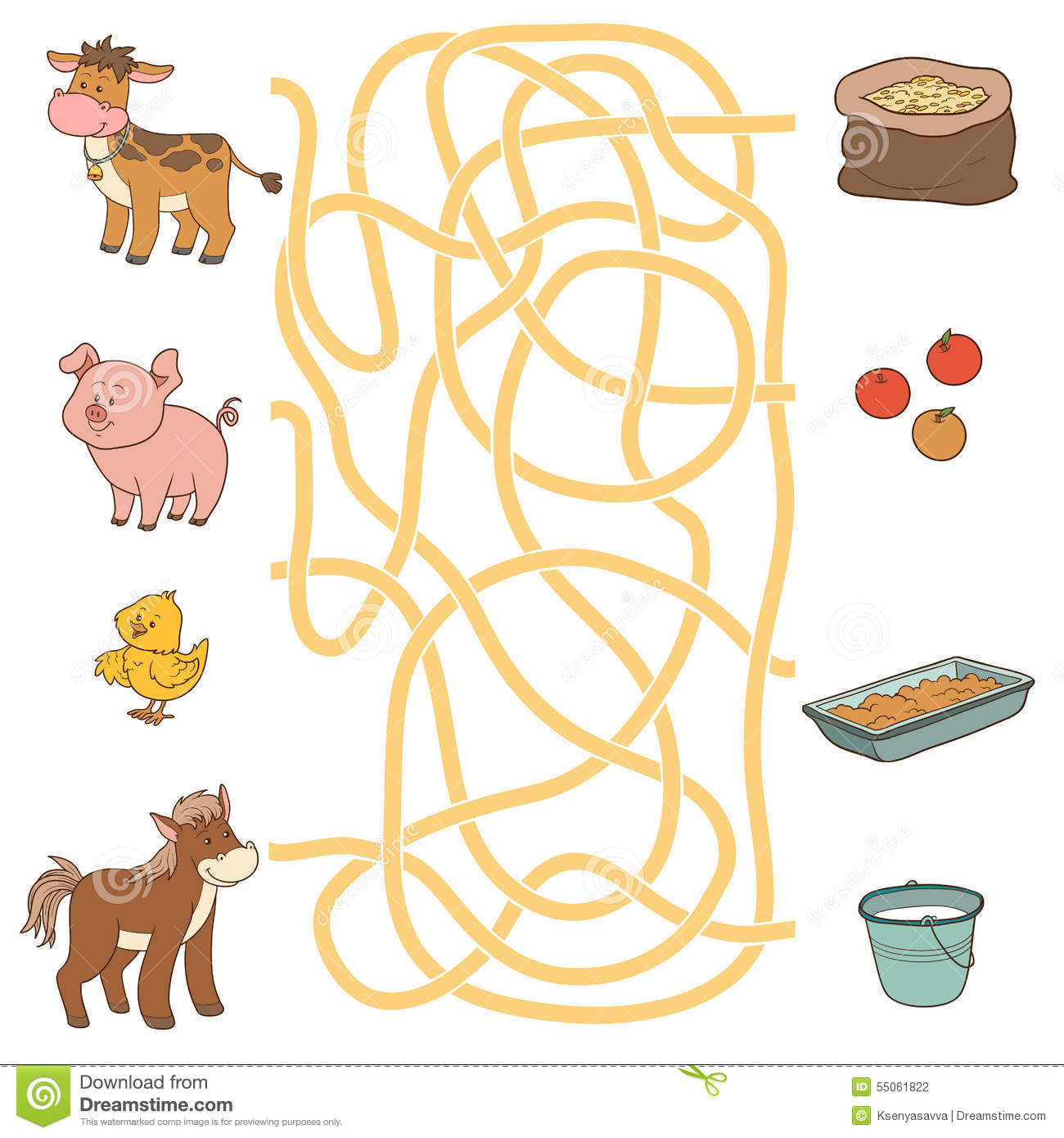Maze Game Farm Animals And Food Cow Pig Chicken
