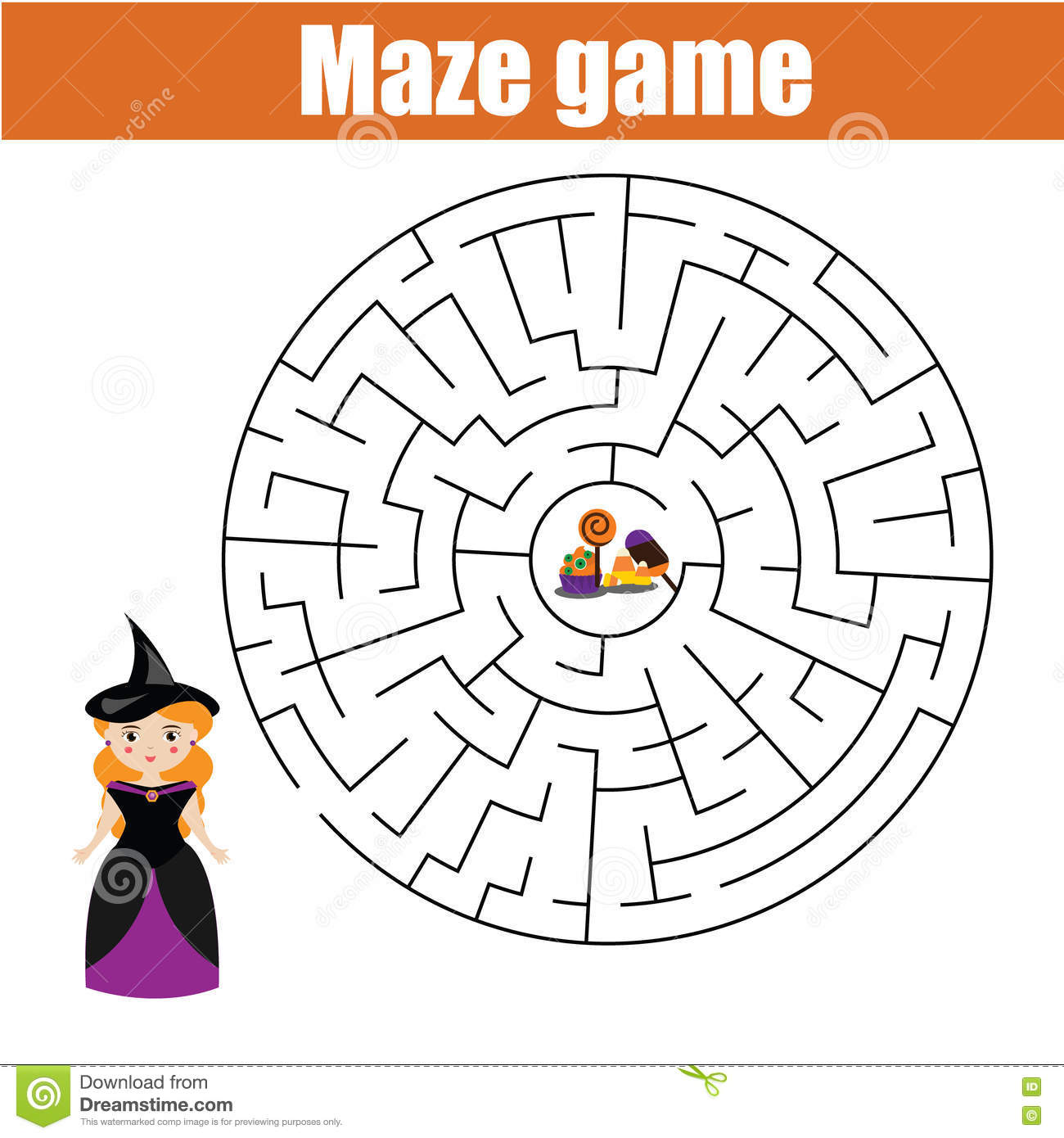 Maze Game Halloween Girl Looking For Sweets Stock Vector