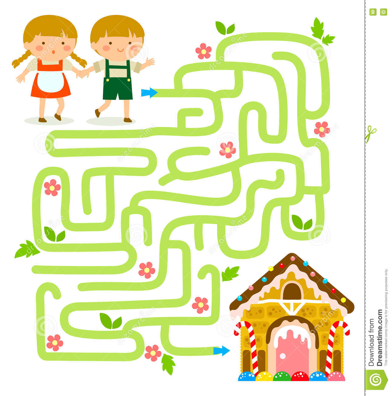 Maze Game With Hansel And Gretel Stock Vector