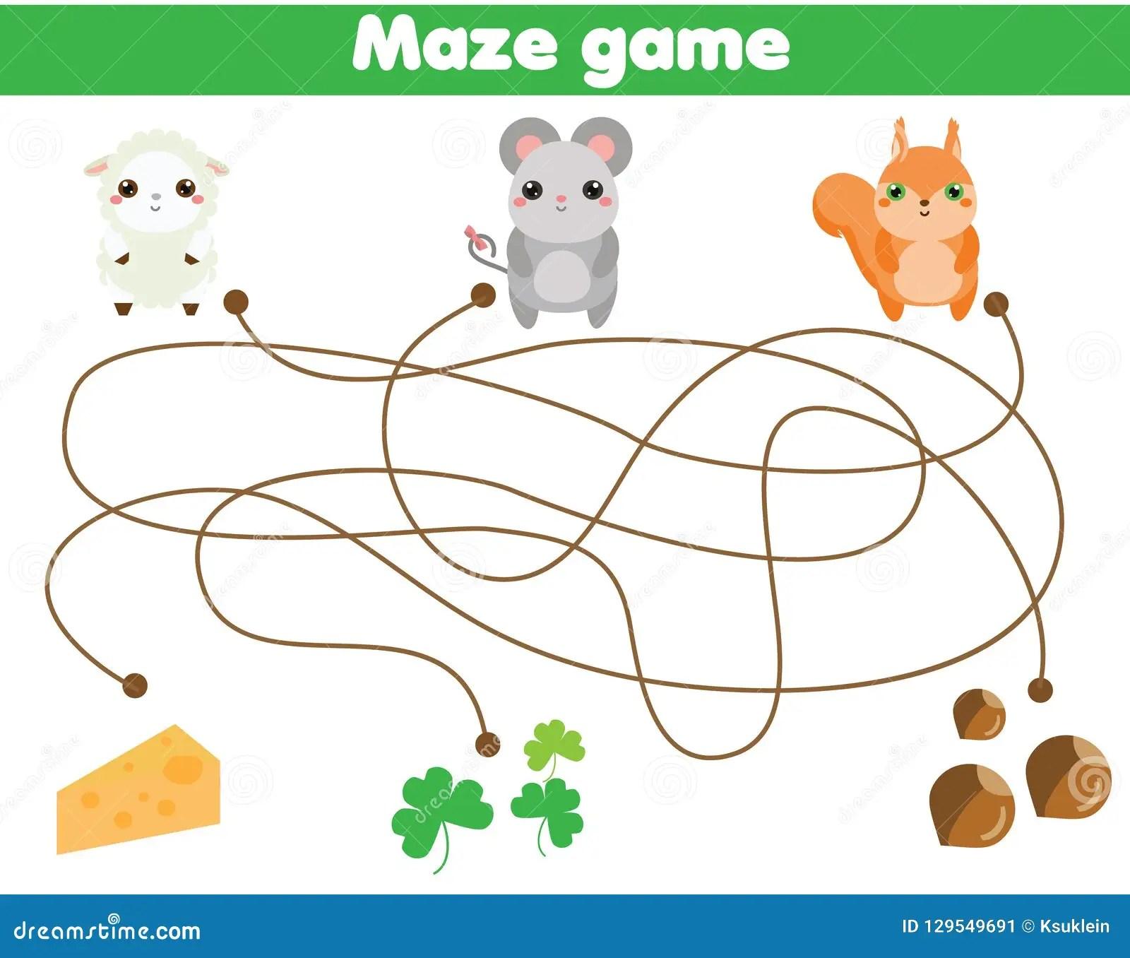 Maze Game Help Animals Find Food Activity For Children