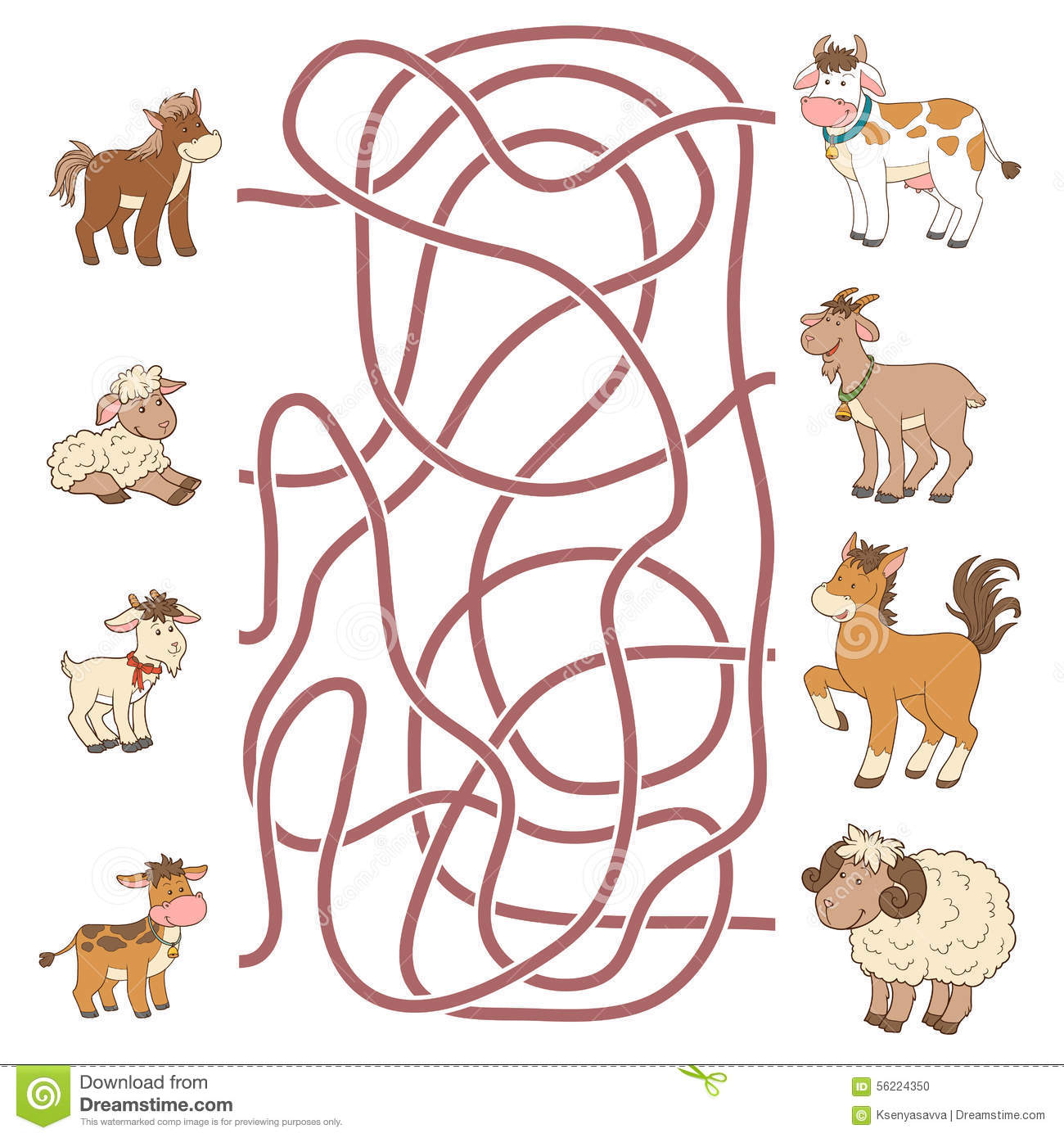 Maze Game Help The Young Find Their Parents Farm Animals