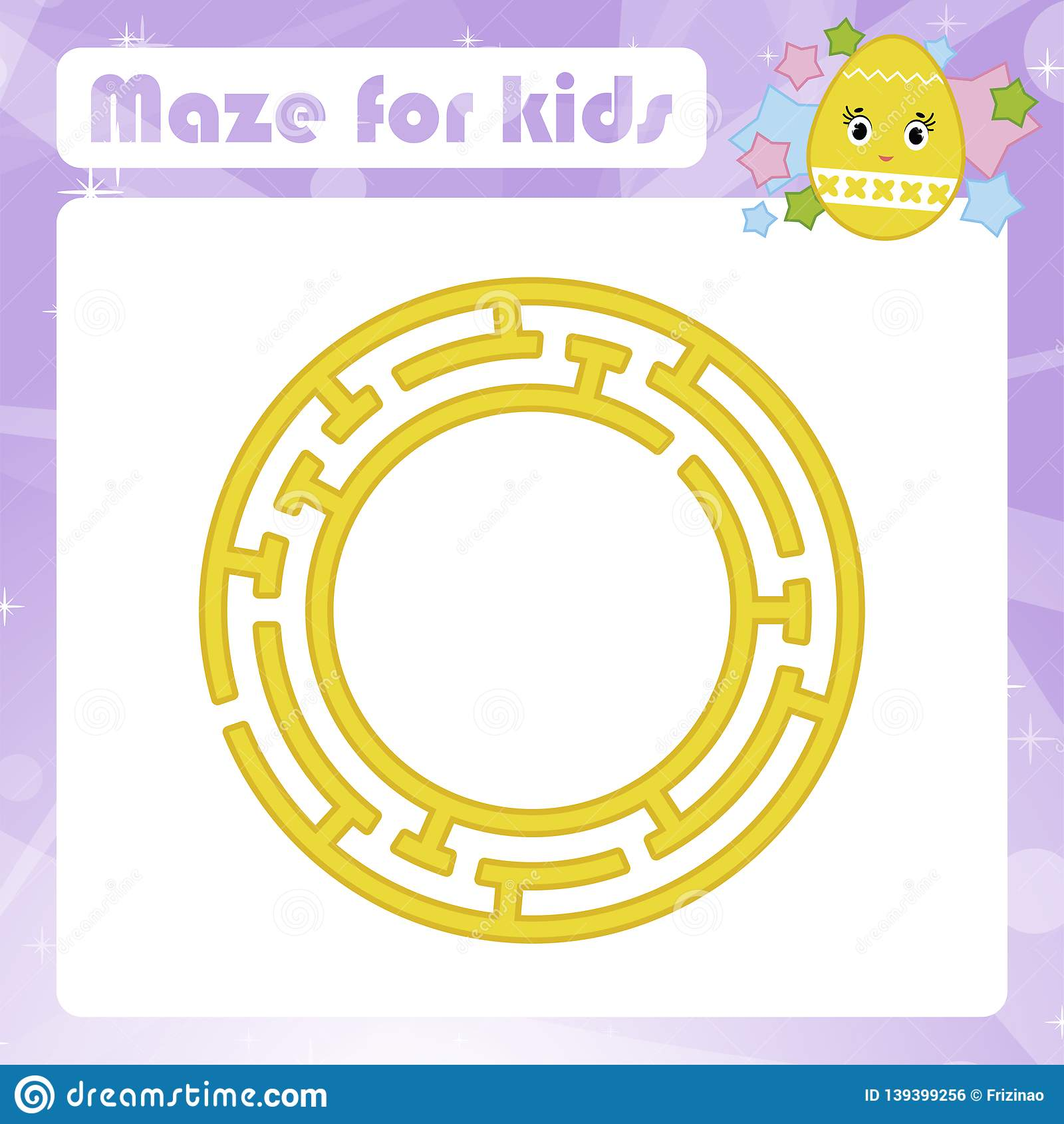 Maze Game For Kids Funny Labyrinth Activity Page
