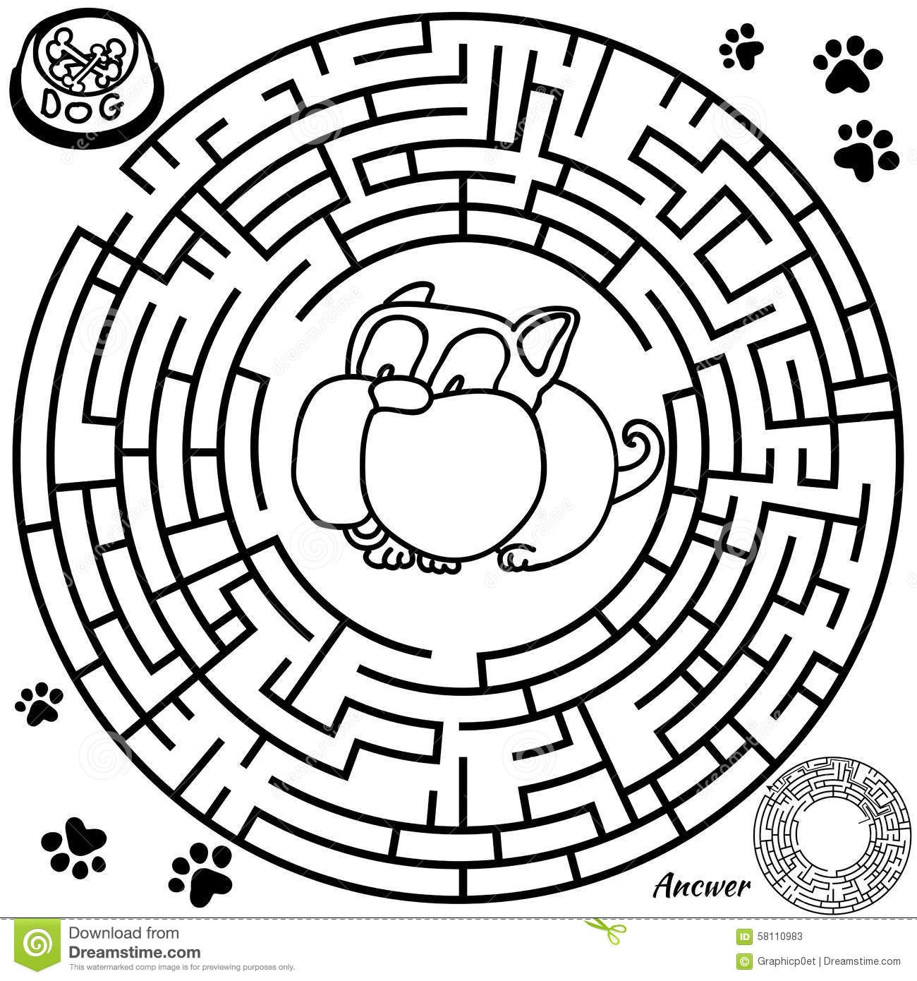 Maze Game For Kids Stock Vector