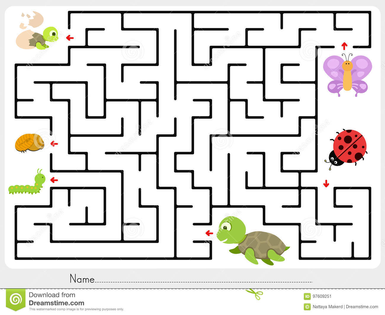 Maze Game Match Animal Butterfly Ladybug And Turtle Finding The Baby Stock Vector