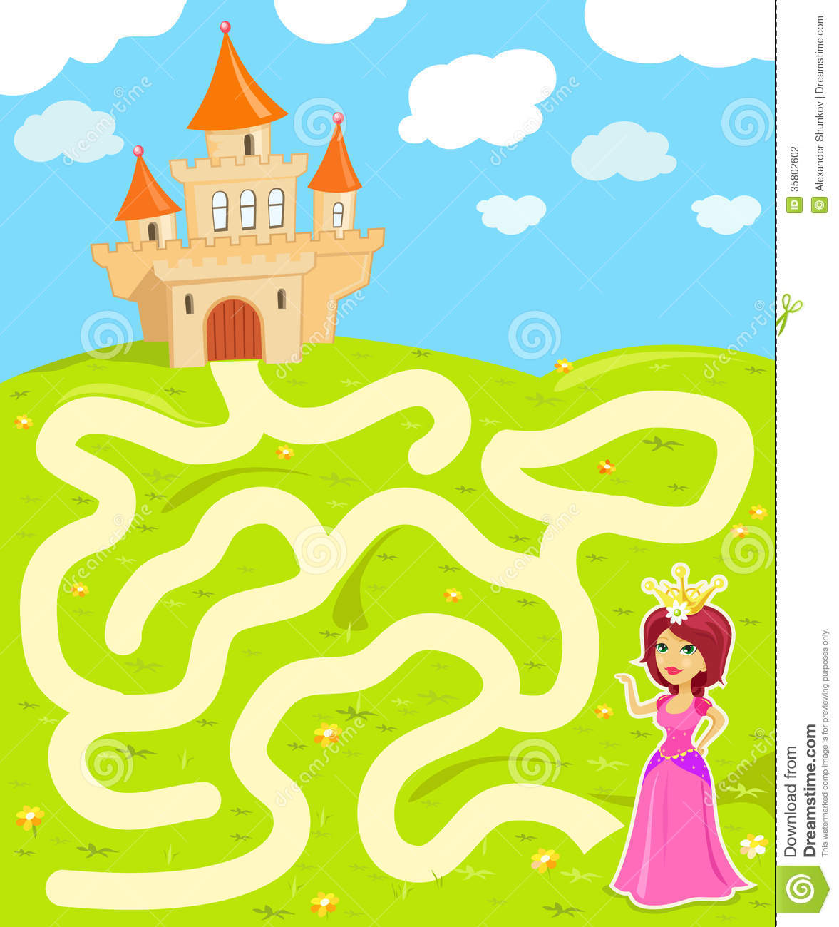 Maze Game With Princess Stock Vector Illustration Of
