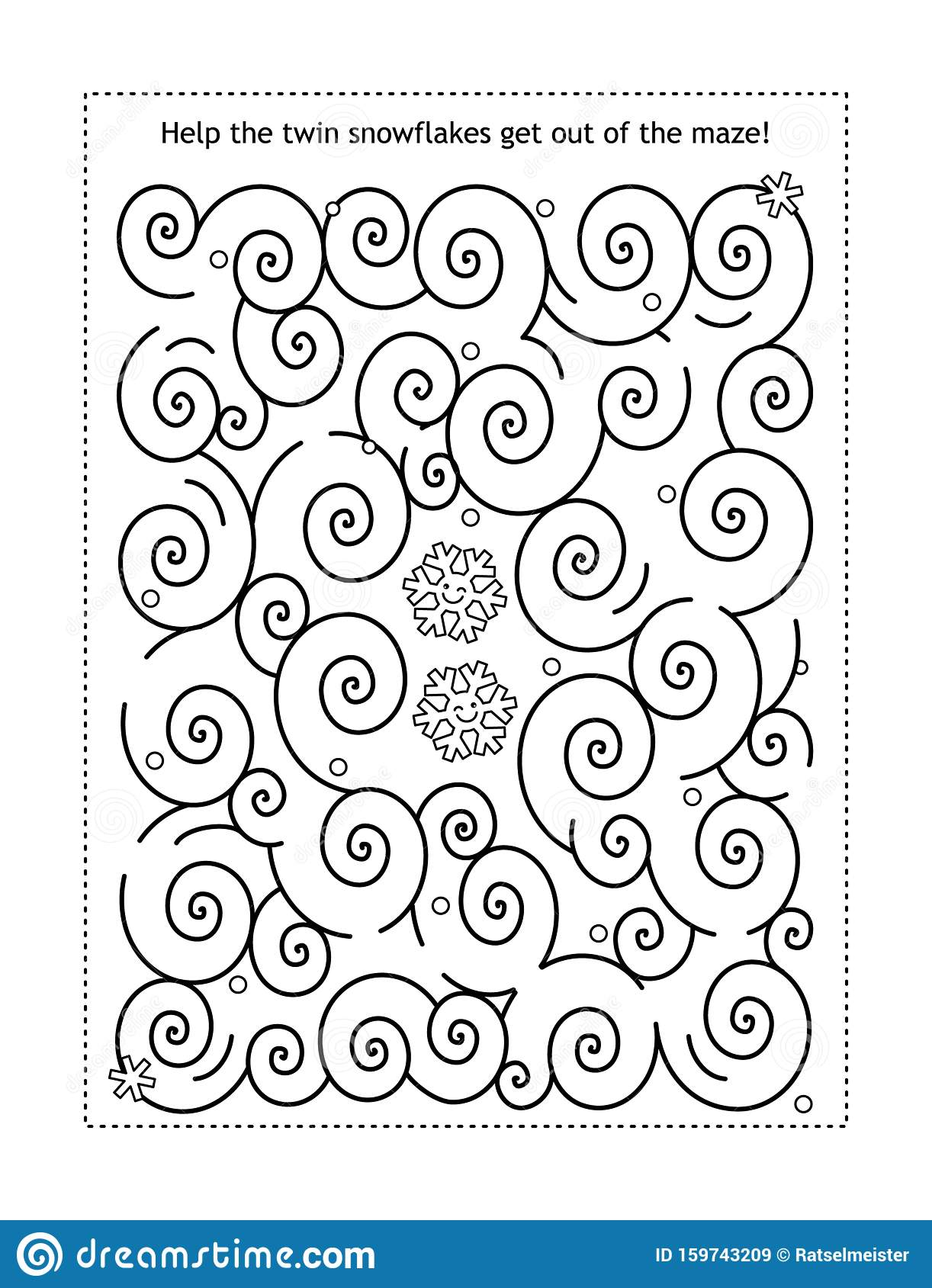 Maze Game With Snowflakes Stock Vector Illustration Of