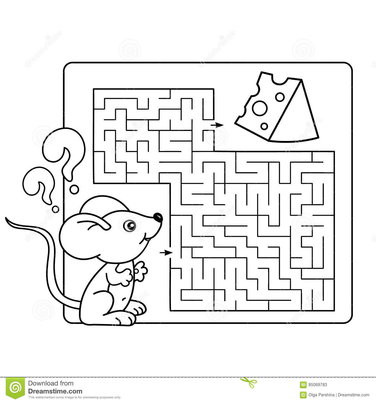 Maze Or Labyrinth Game For Preschool Children Puzzle Stock Vector