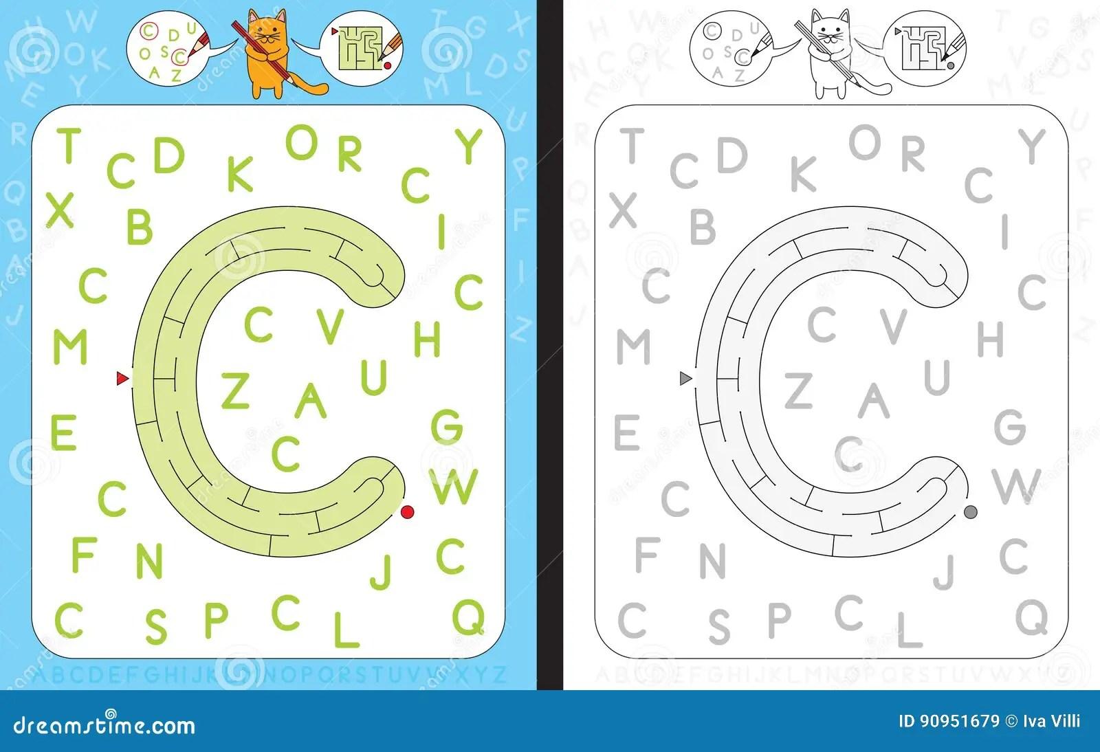 Maze Letter C Stock Vector Illustration Of Literacy