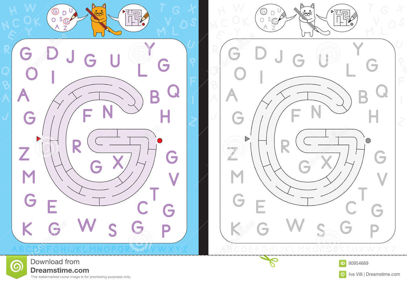 Maze Letter G Stock Vector Illustration Of Writing Cartoon