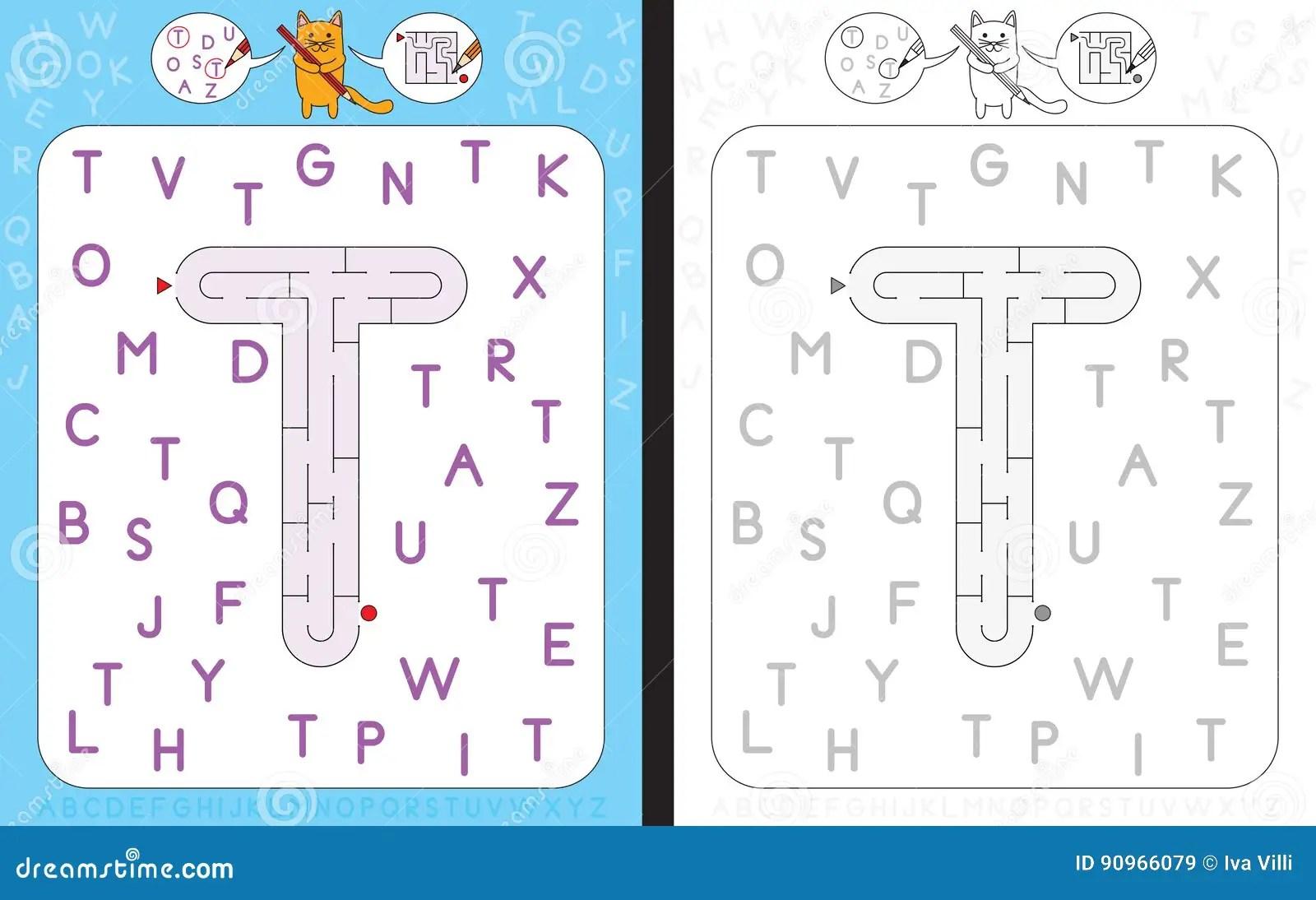 Maze Letter T Stock Vector Illustration Of Activity