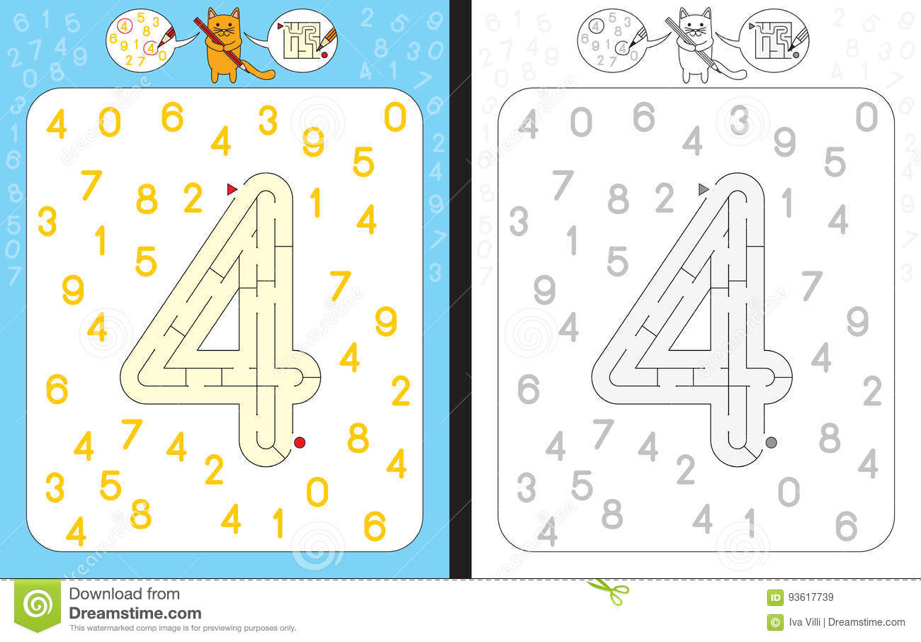 Maze Number 4 Stock Vector Illustration Of Task