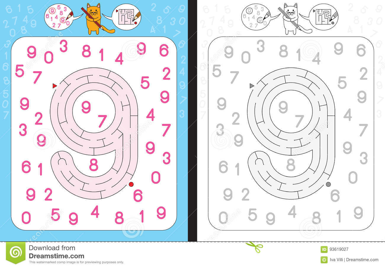 Maze Number 9 Stock Vector Illustration Of Teaching