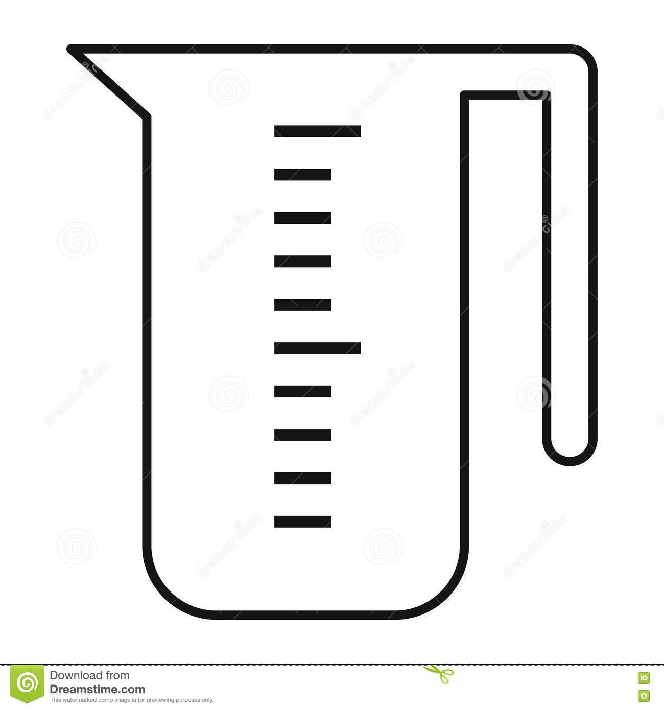 Measuring Cup Icon Outline Style Stock Vector