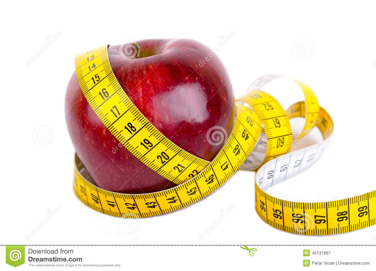 Measuring Tape Wrapped Around A Apple Weight Loss Stock