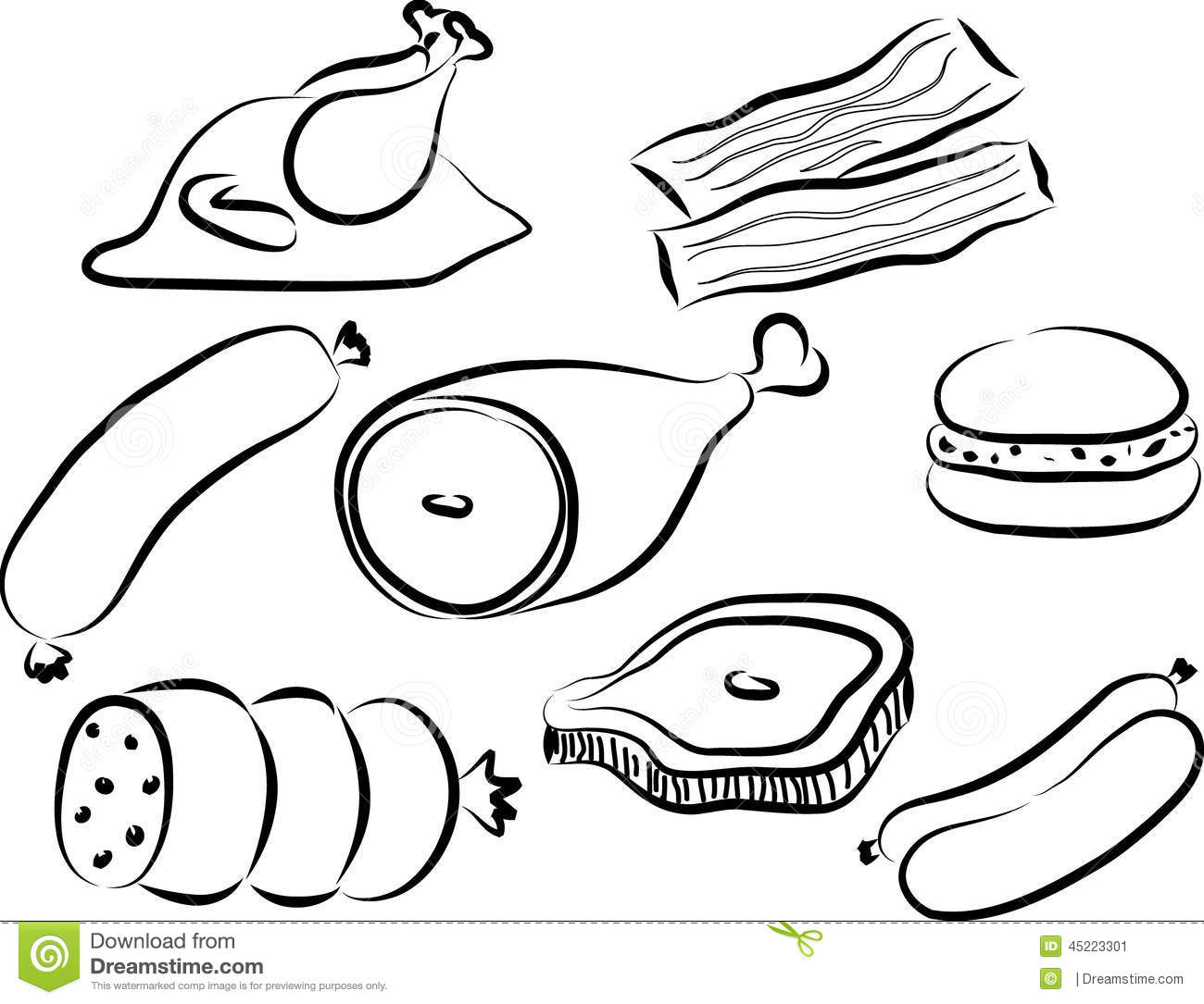 Meat Doodle Stock Vector