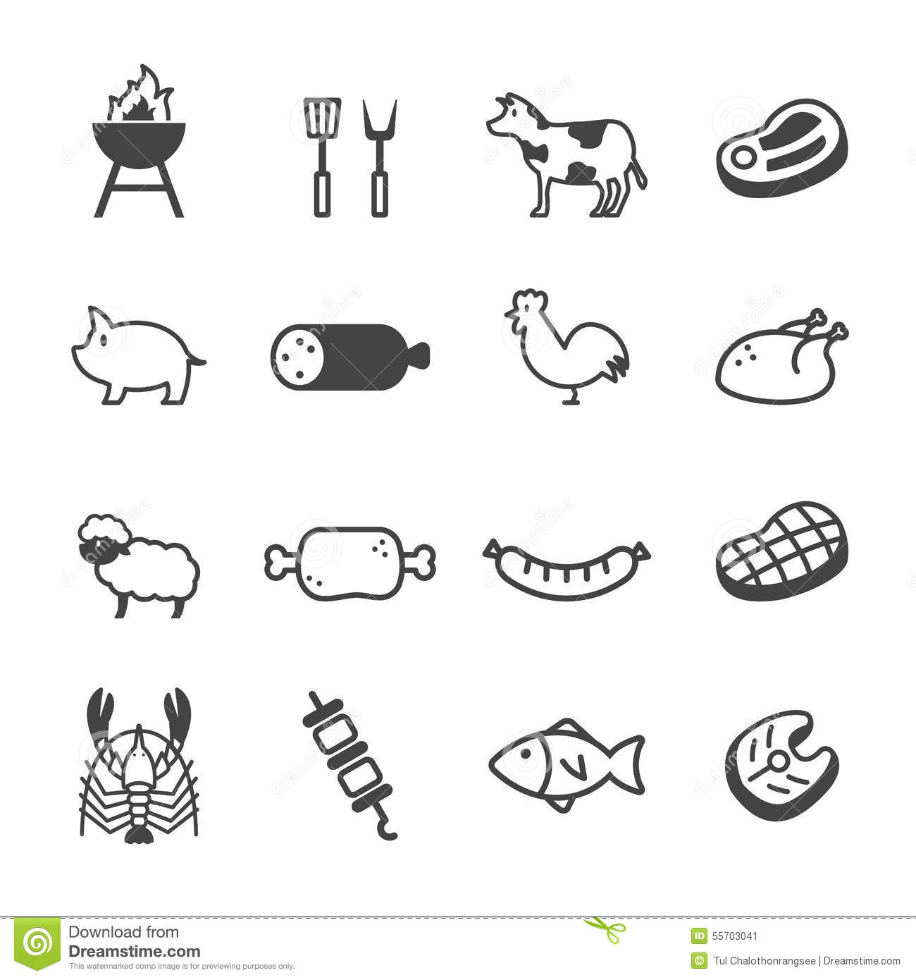 Meat Icons Vector Illustration