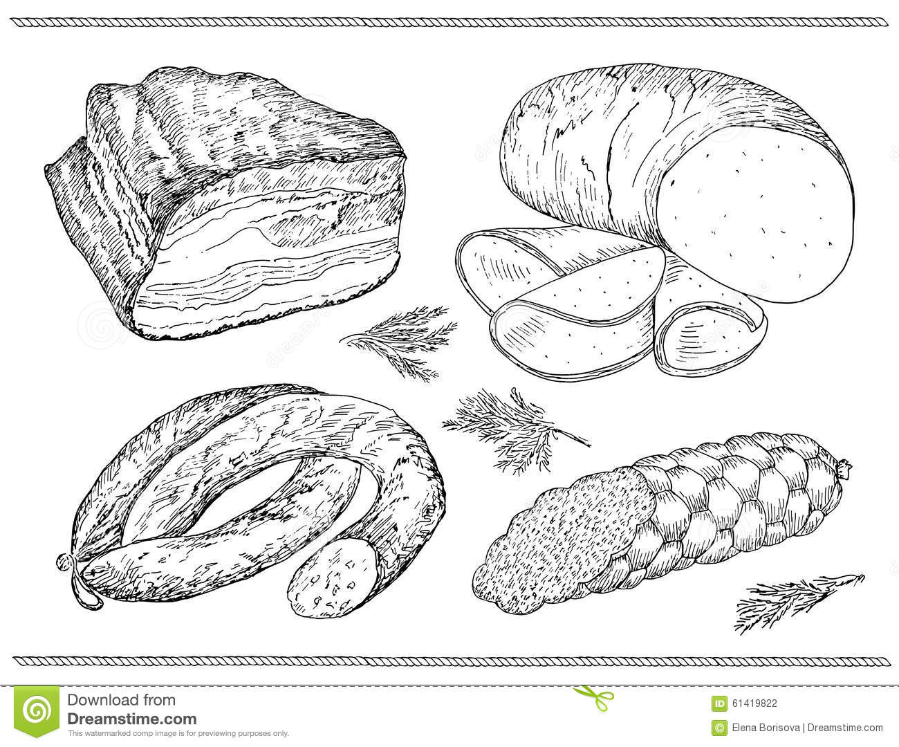 Meat Sausage Set Stock Vector Illustration Of Salami