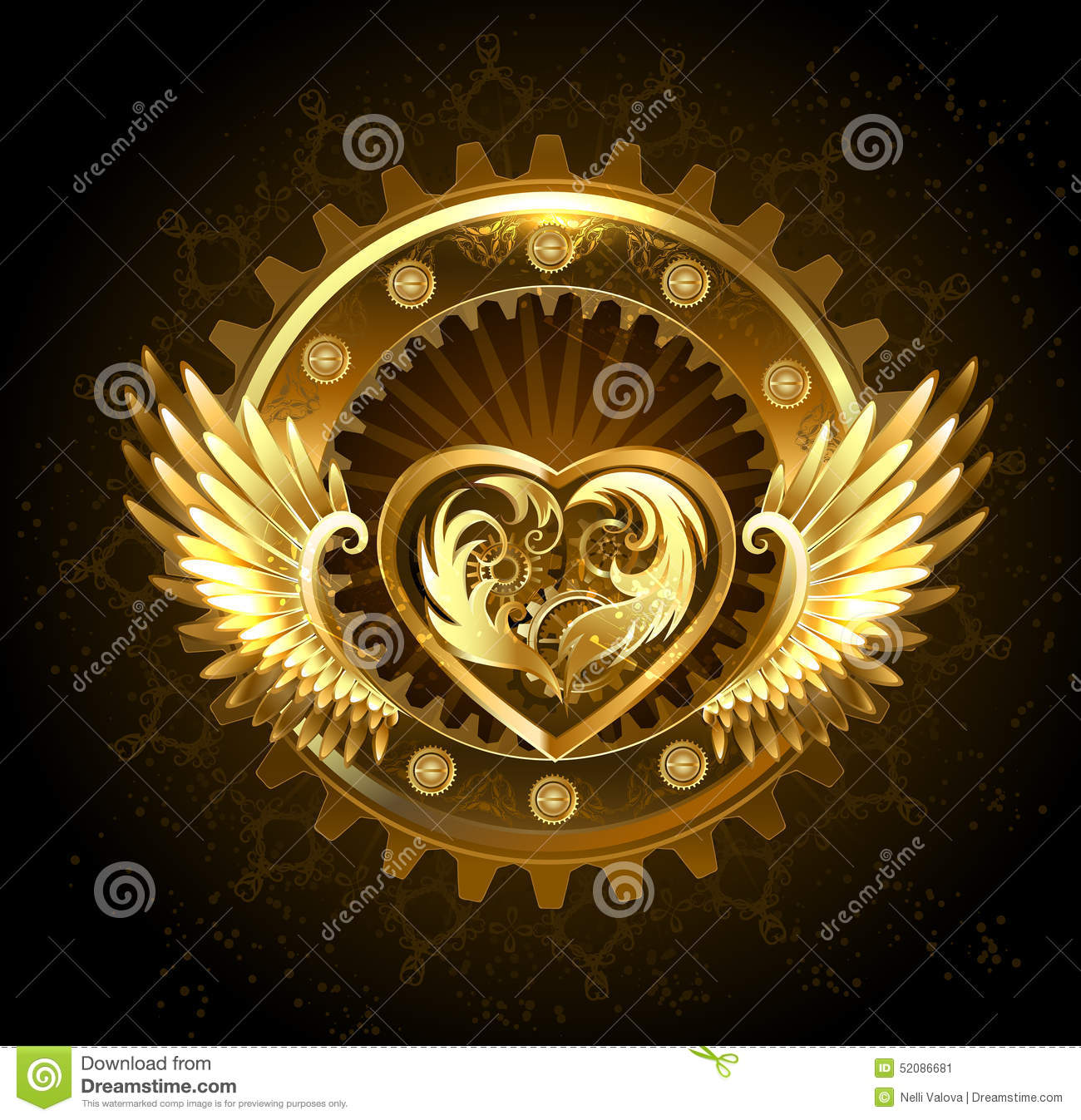Mechanical Heart With Wings Stock Vector Image 52086681
