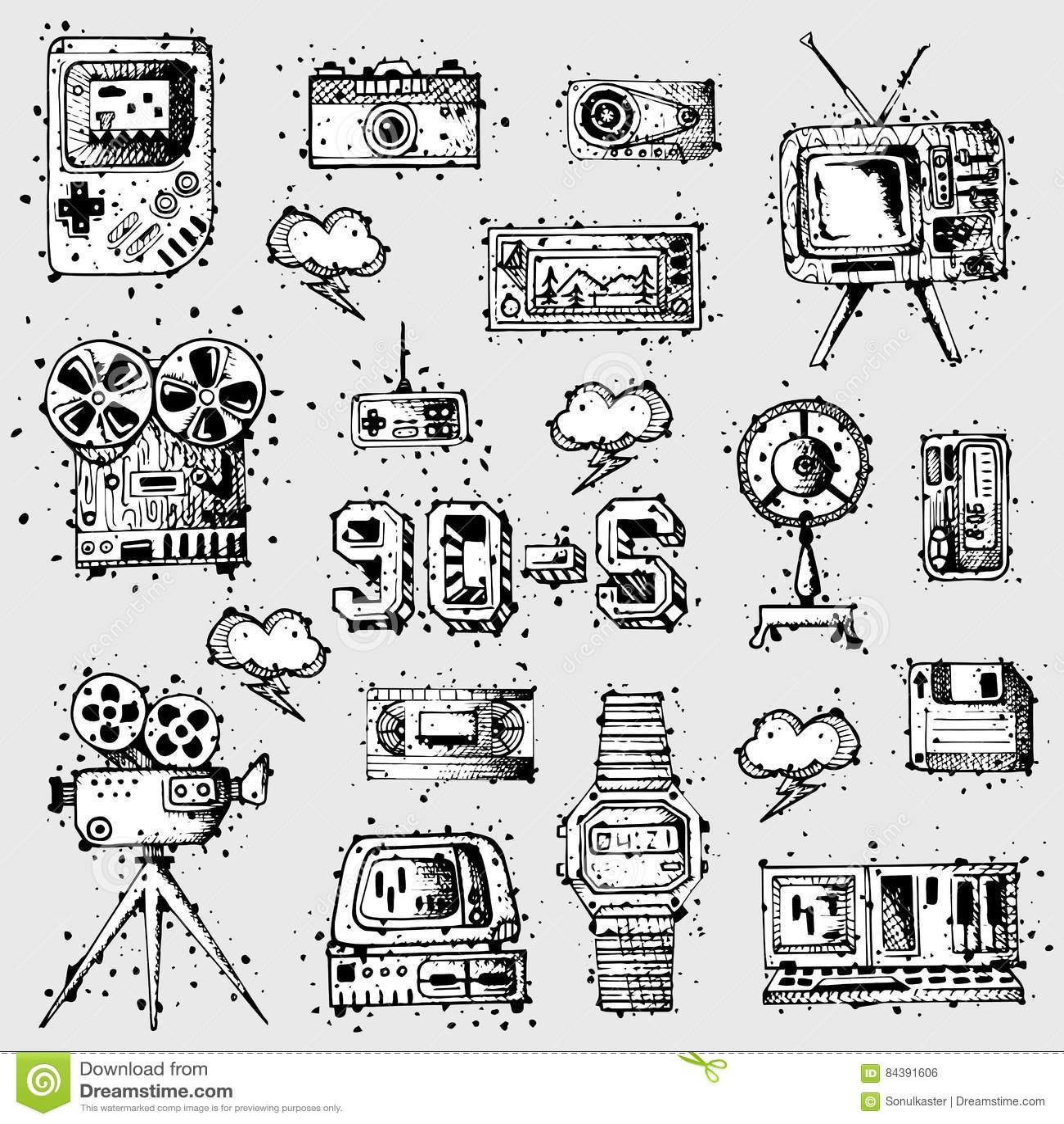 Black Old Phone And Receiver Symbols Vector Illustration