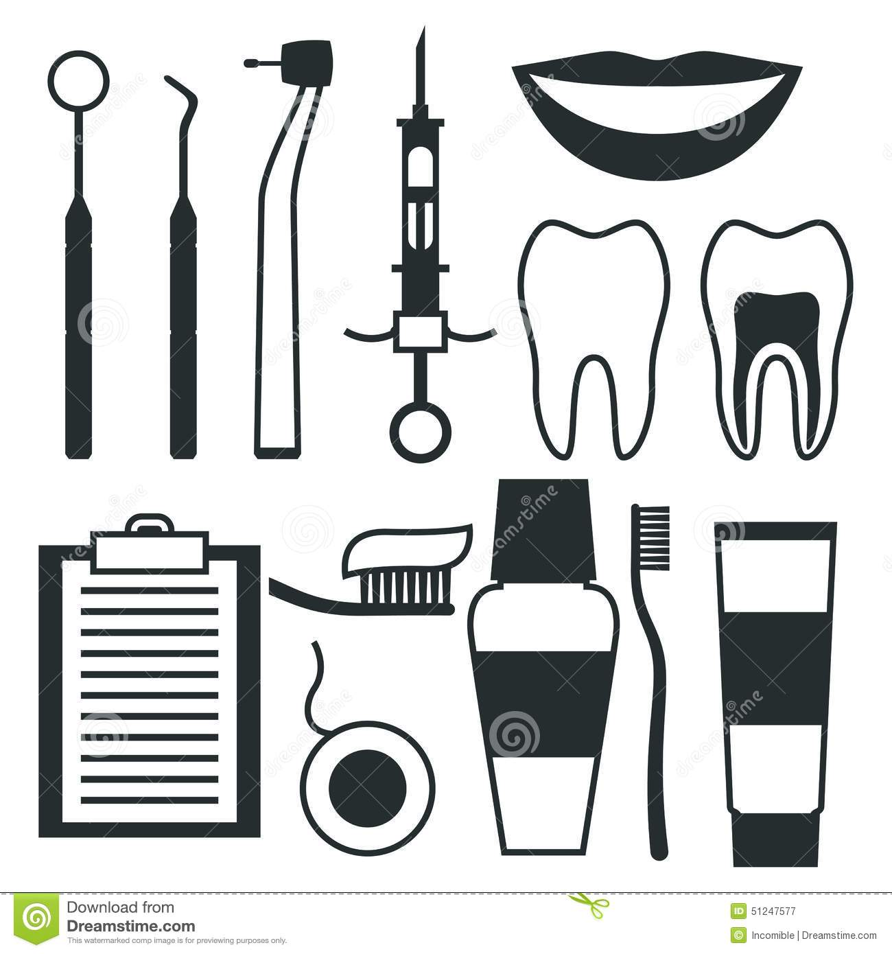 Medical Dental Equipment Icons Set In Flat Style Stock